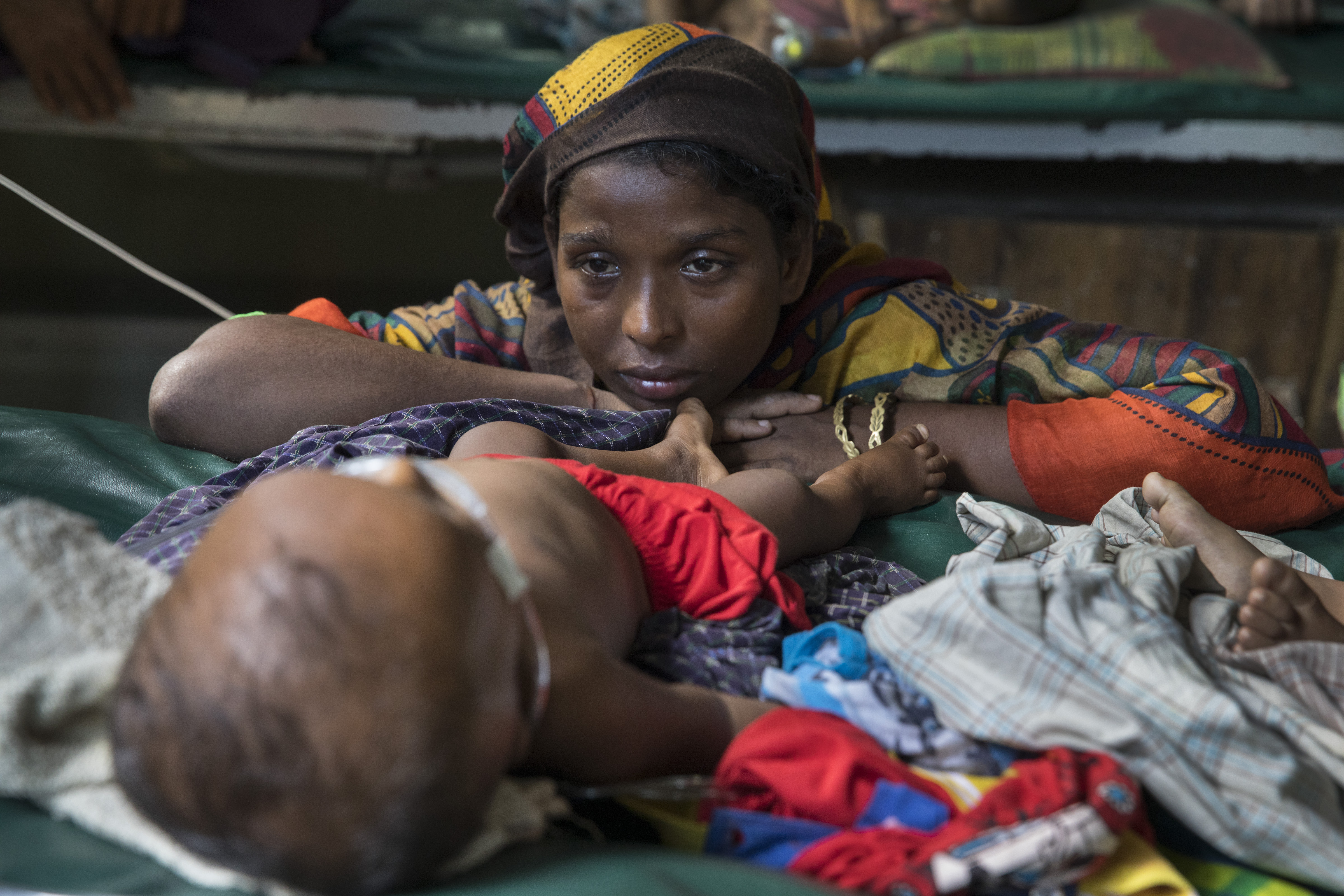 Hasina worries over her son, Mohammed Anas, 11 months, suffering from acute pneumonia in the pediatric neonatal unit at the 'Doctors Without Borders' Kutupalong clinic Cox's Bazar, Bangladesh on Oct. 4, 2017.