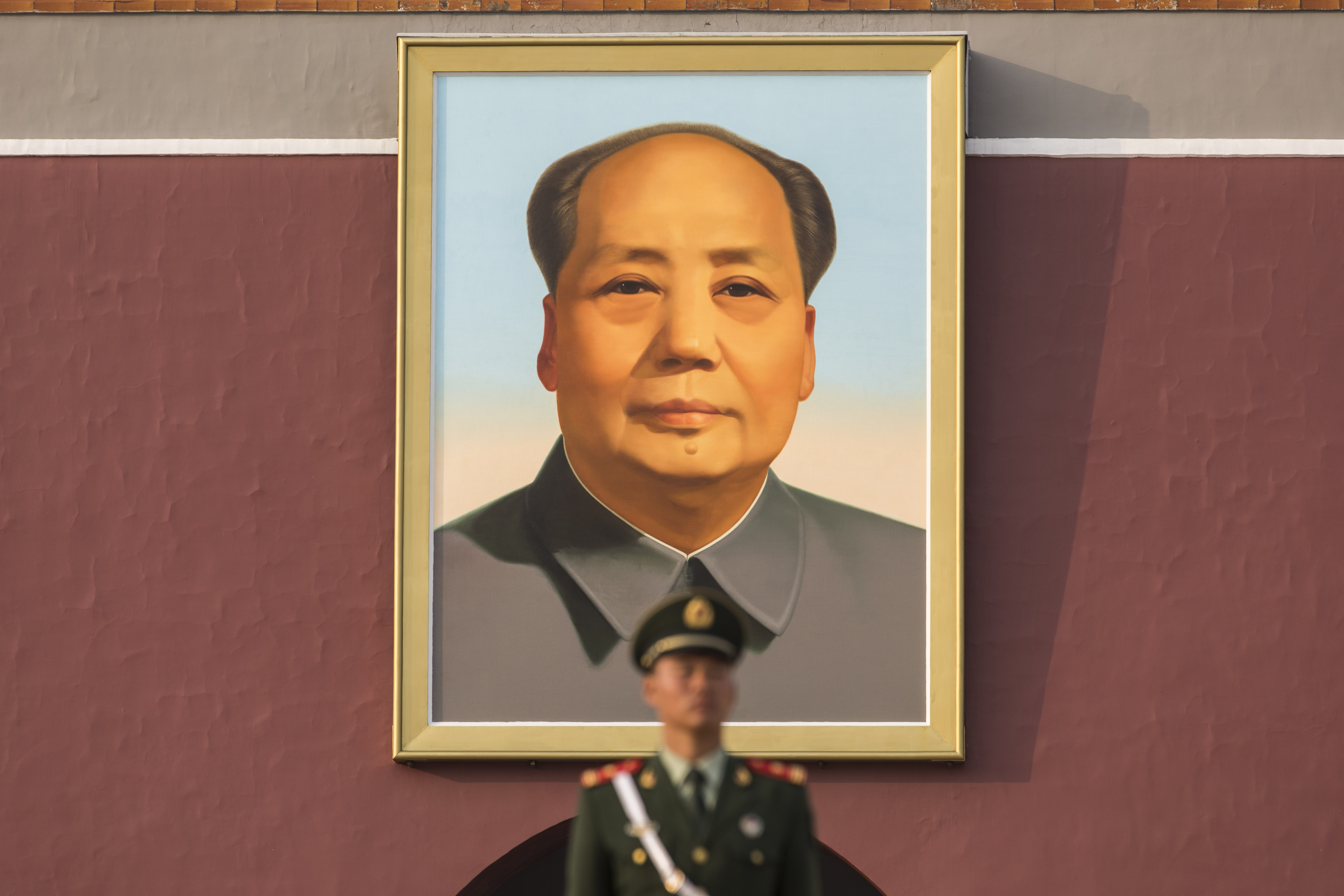 A portrait of former Chinese leader Mao Zedong at Tiananmen Square in Beijing, China on Oct 16, 2017.  An actor who impersonated  Mao at a conference on blockchain technology in China, sparked outrage.