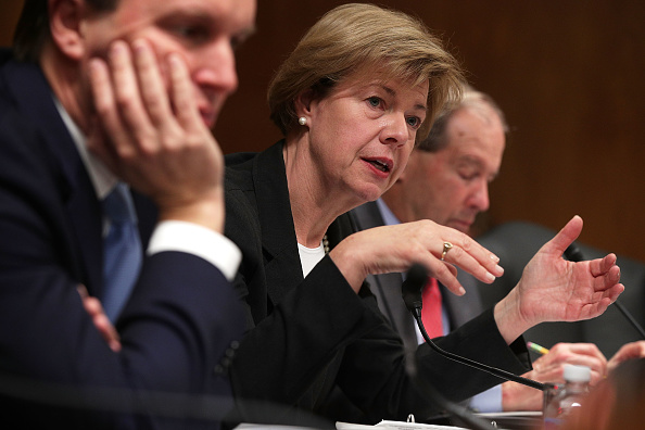 U.S. Sen. Tammy Baldwin (D-WI) (C) speaks during a hearing before the Military Construction, Veterans Affairs, and Related Agencies Subcommittee of the Senate Appropriations Committee November 15, 2017 on Capitol Hill in Washington, DC