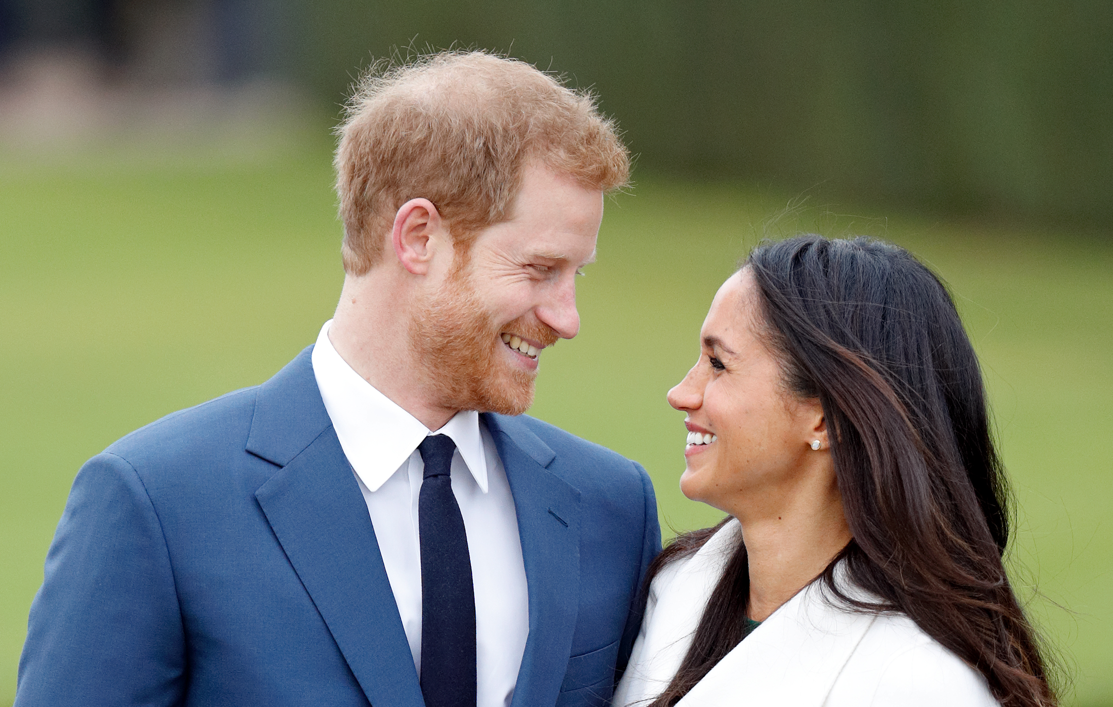 Prince Harry and Meghan Markle attend an official photocall to announce their engagement at The Sunken Gardens, Kensington Palace on November 27, 2017 in London, England.