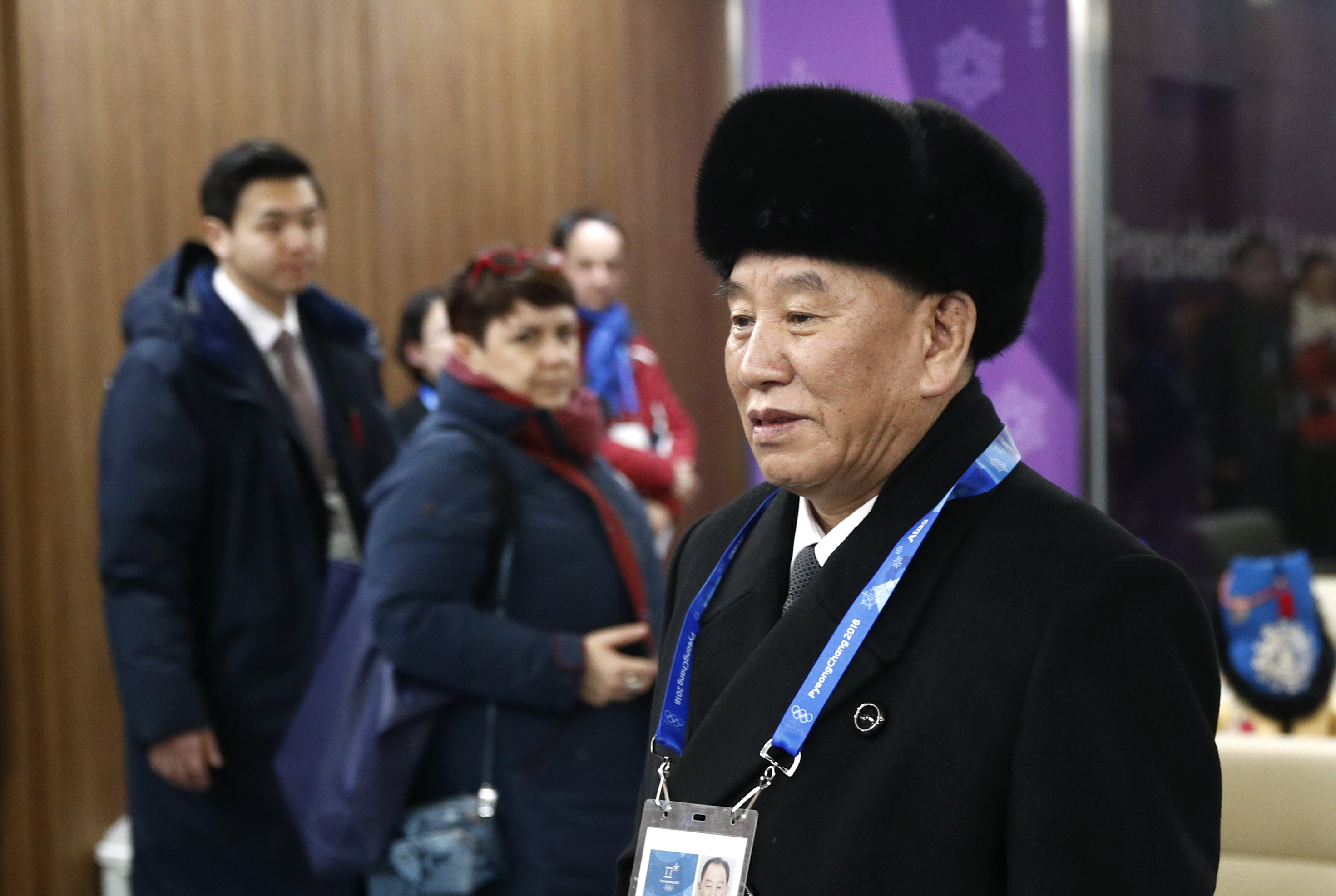 Kim Yong Chol, vice chairman of North Korea's ruling Workers' Party Central Committee, at the closing ceremony of the Pyeongchang 2018 Winter Olympic Games  on Feb. 25, 2018.