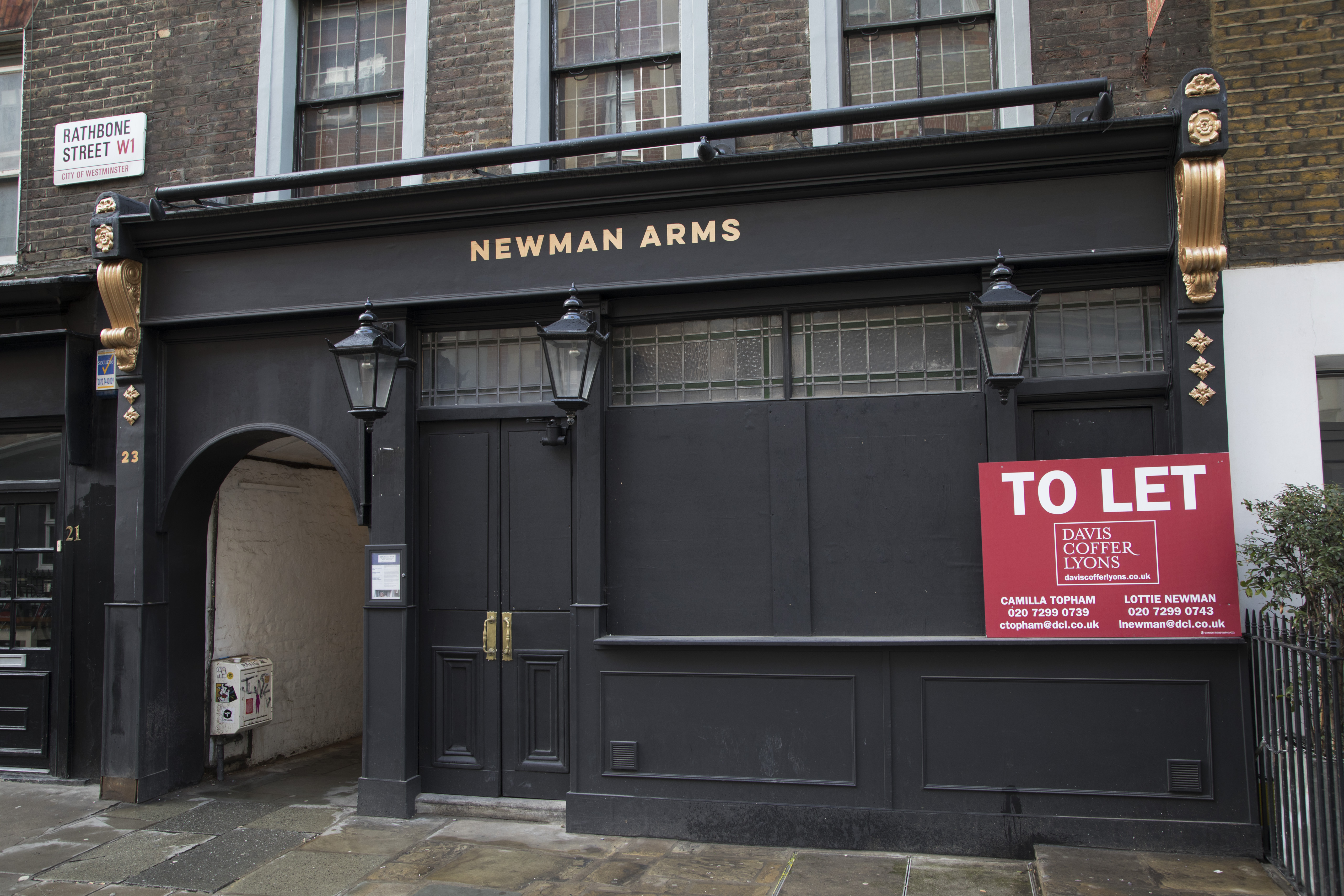 The Newman Arms closed down pub in London, England, United Kingdom.