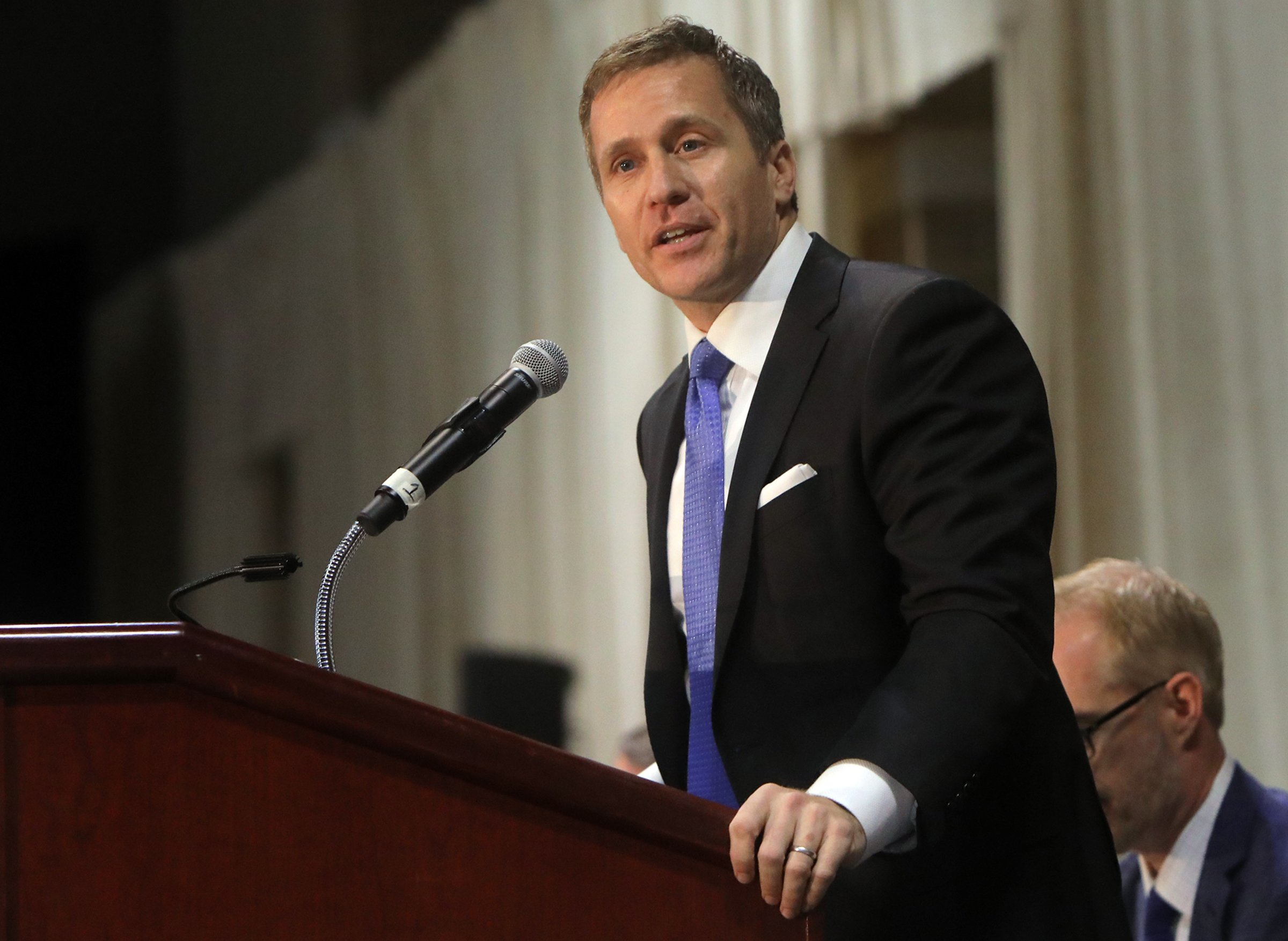 Gov. Eric Greitens delivers the keynote address at the 27th Annual Police Officer Memorial Prayer Breakfast in St. Louis, Missouri on on April 25, 2018.