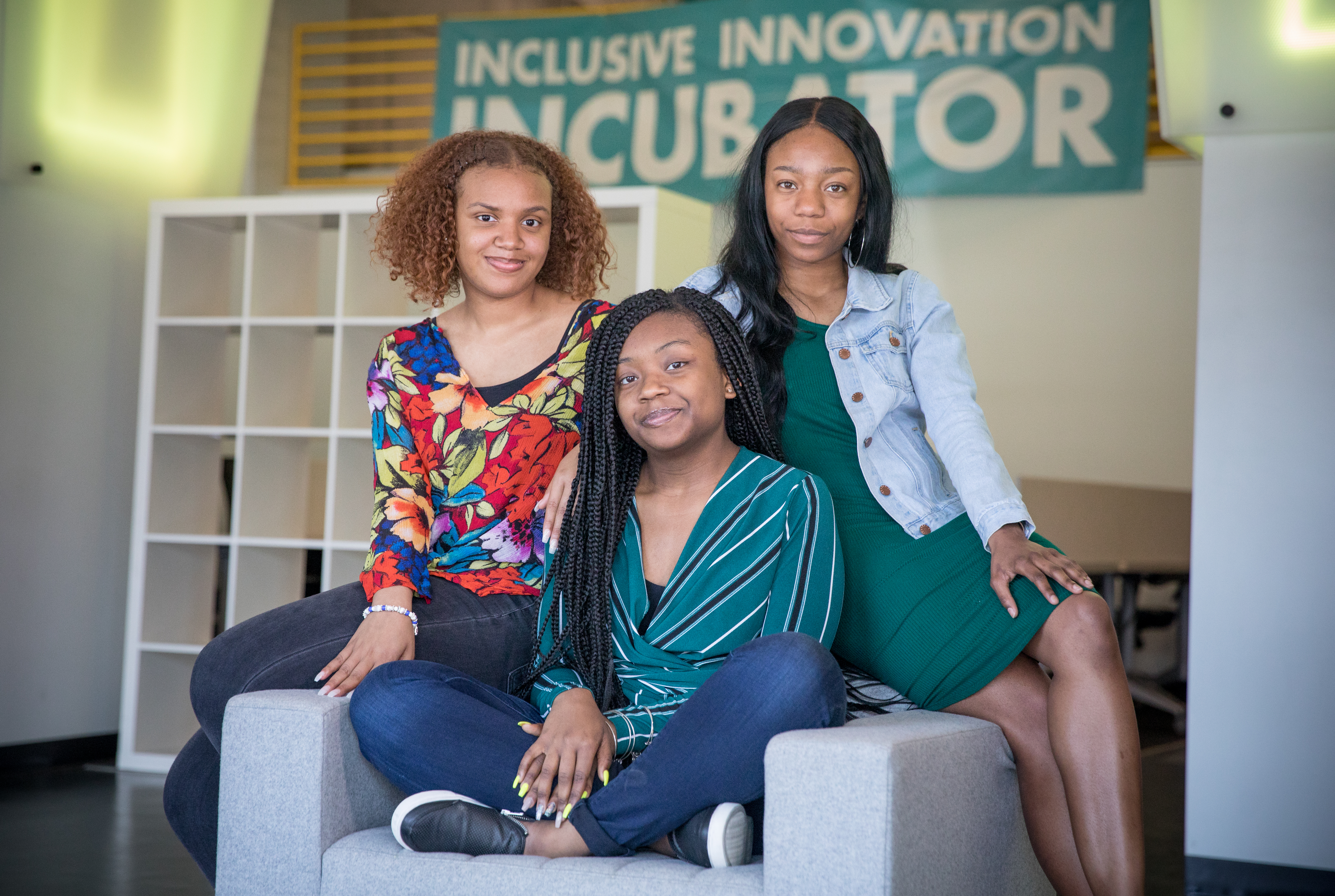 From left: India Skinner, Mikayla Sharrieff, and Bria Snell, 11th graders from Banneker High School in Washington, D.C., finalists in a NASA youth science competition, pictured on May 1, 2018.