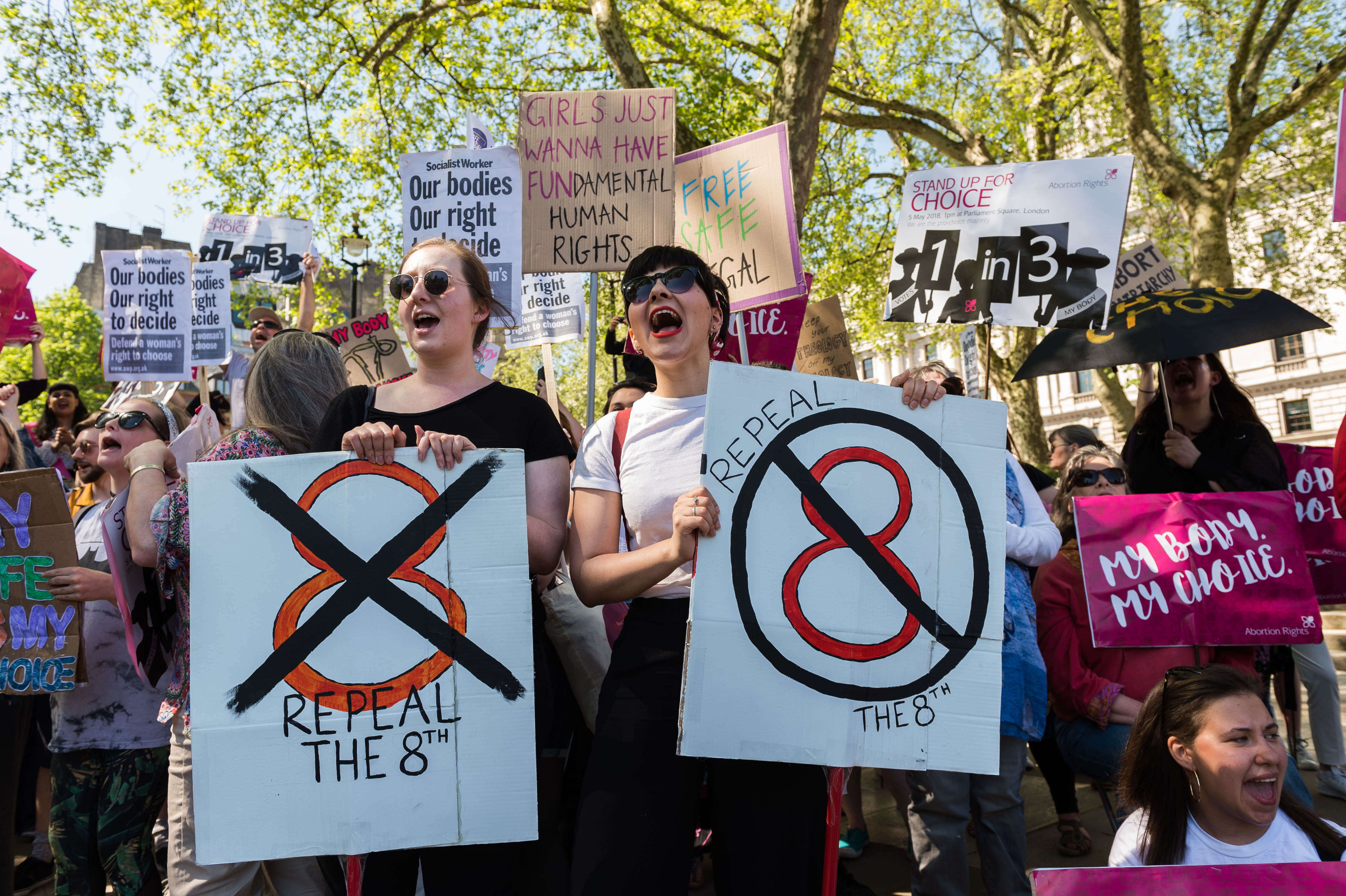 Pro-choice supporters in Parliament Square in London ahead of 25th of May Referendum to remove the eighth amendment from Irish Constitution, on May 5, 2018.