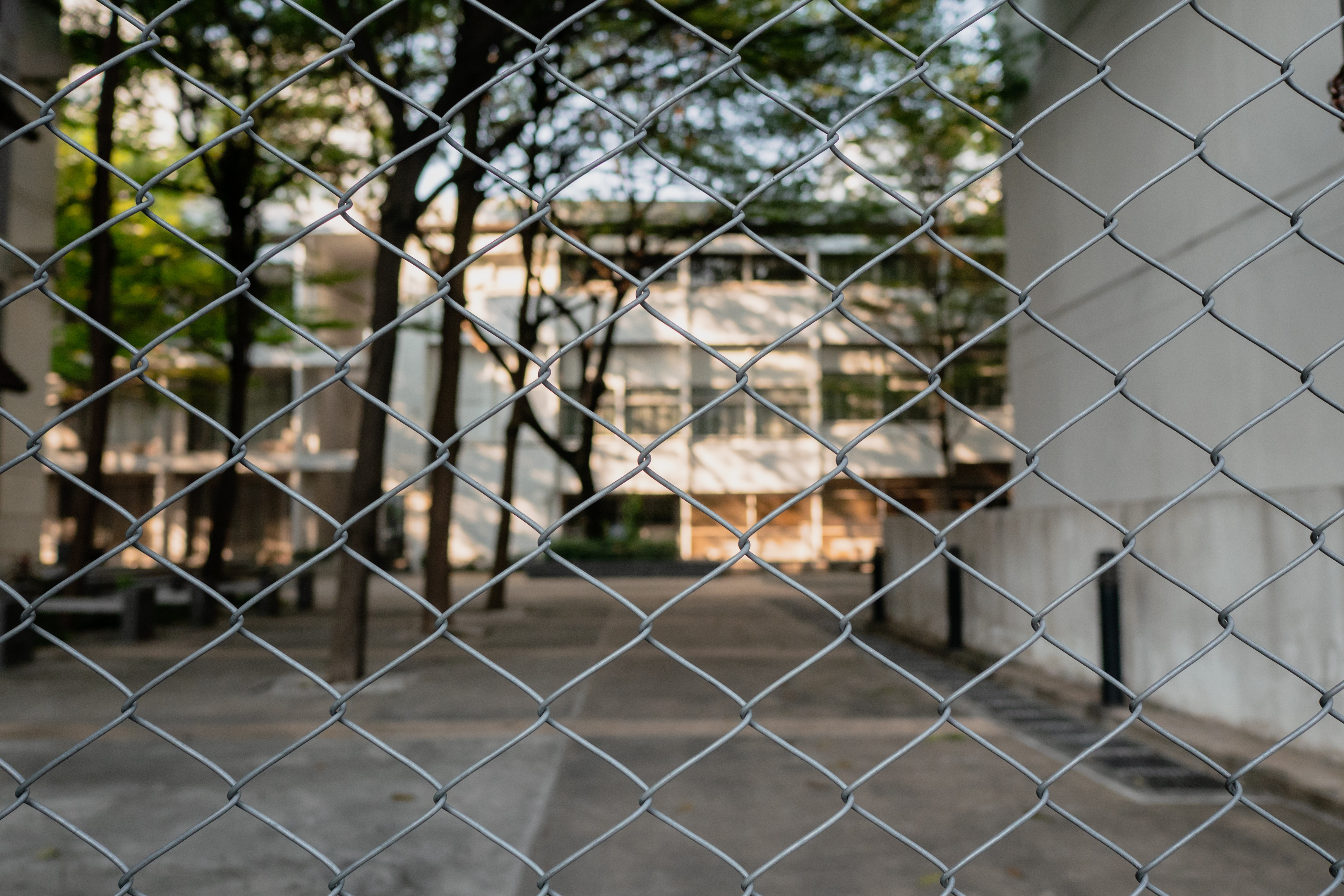 Chain link fence in front of the building
