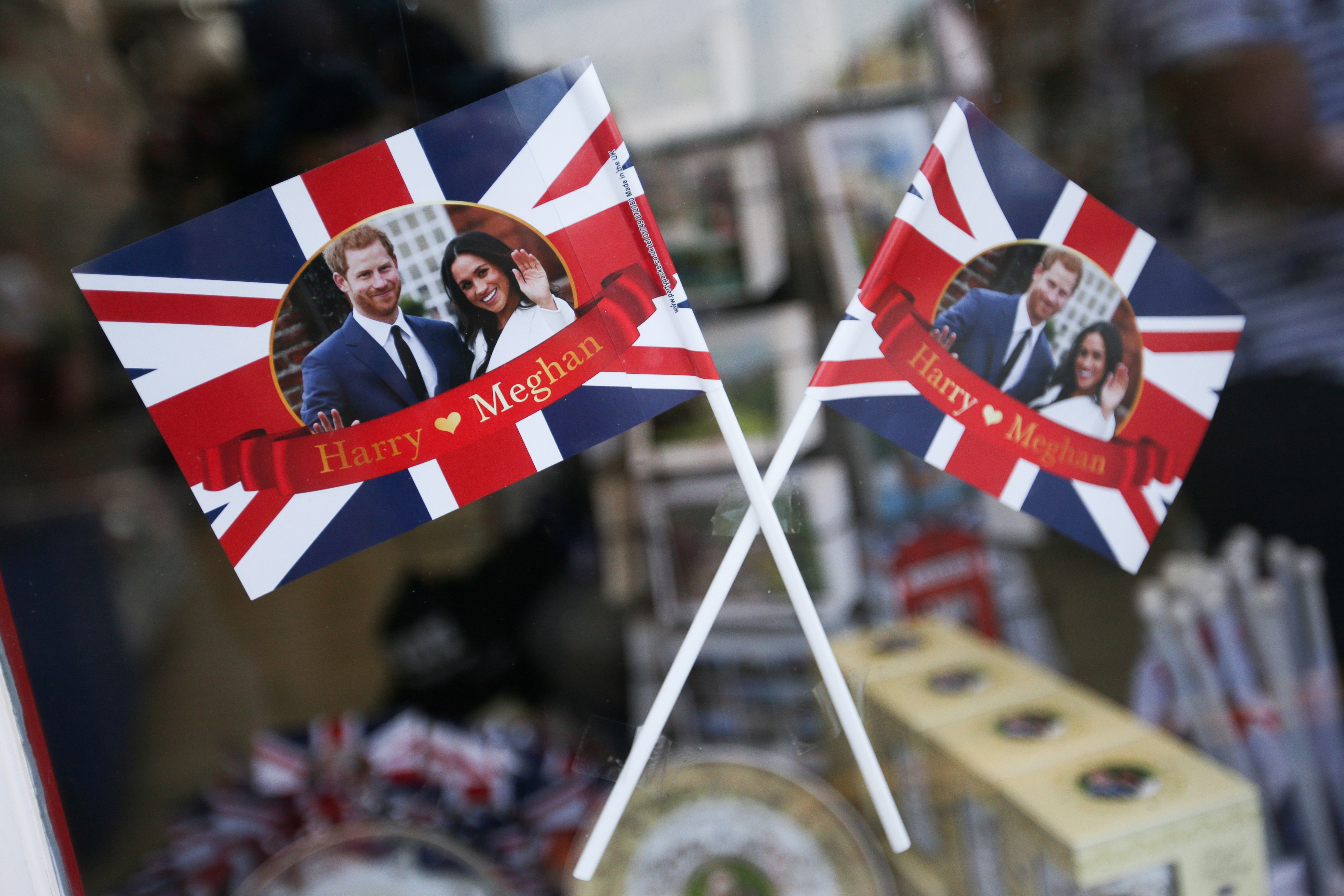 Memorabilia celebrating the the forthcoming wedding between Britain's Prince Harry and his US fiancee Meghan Markle are pictured for sale in a gift shop in Windsor, west of London on May 8, 2018. - Britain's Prince Harry and US actress Meghan Markle will marry on May 19 at St George's Chapel in Windsor Castle. (Photo by Daniel LEAL-OLIVAS / AFP)        (Photo credit should read DANIEL LEAL-OLIVAS/AFP/Getty Images)