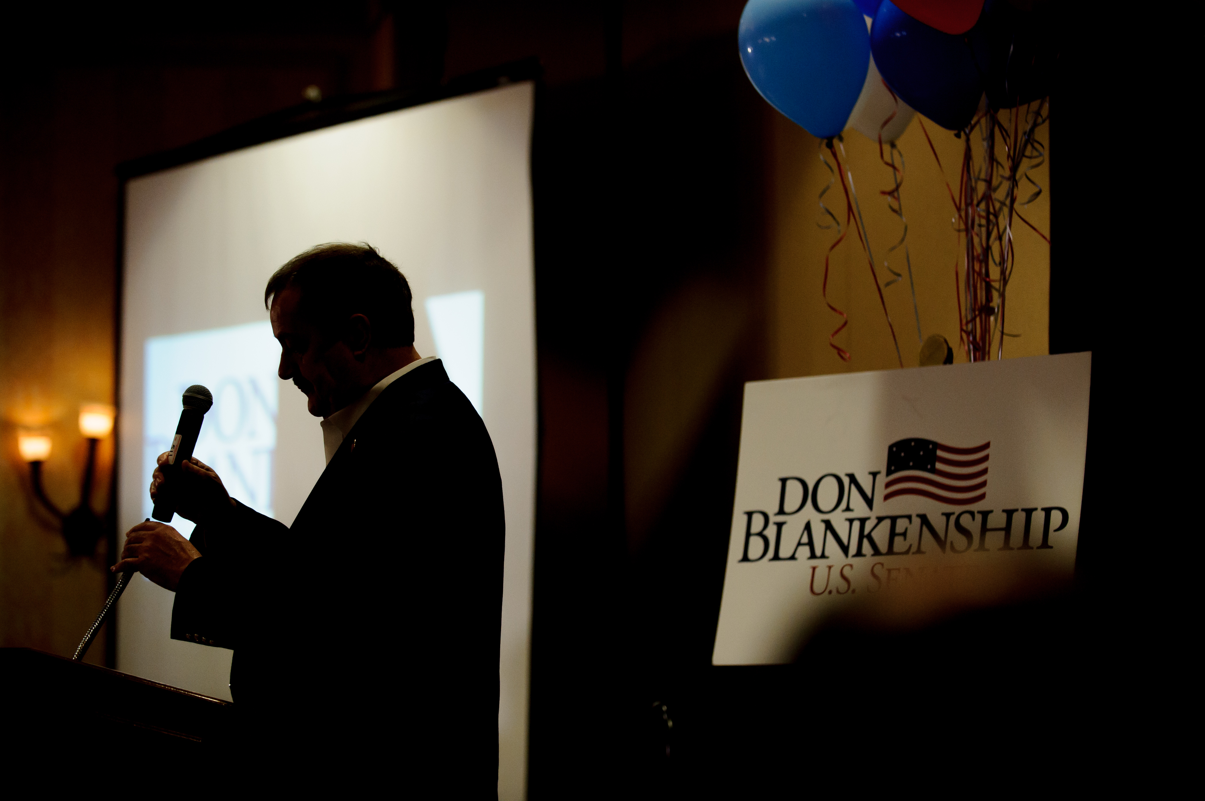 U.S. Senate Republican primary candidate Don Blankenship after addressing supporters following a poor showing in the polls May 8, 2018 in Charleston, West Virginia.
