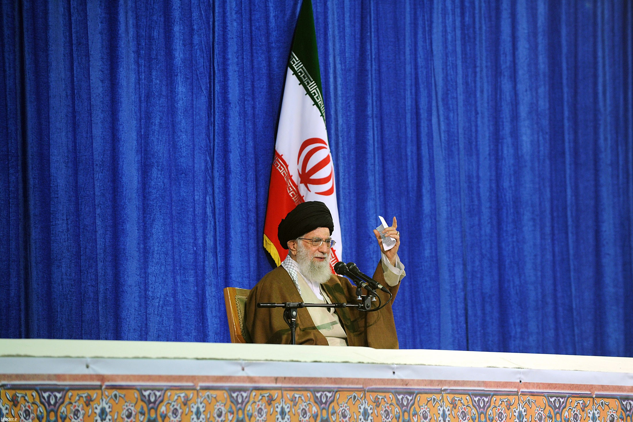 Iranian Supreme Leader Ayatollah Ali Khamanei makes a speech regarding Trump's withdrawal decision from Iran nuclear deal during a press conference in Tehran, Iran on May 09, 2018