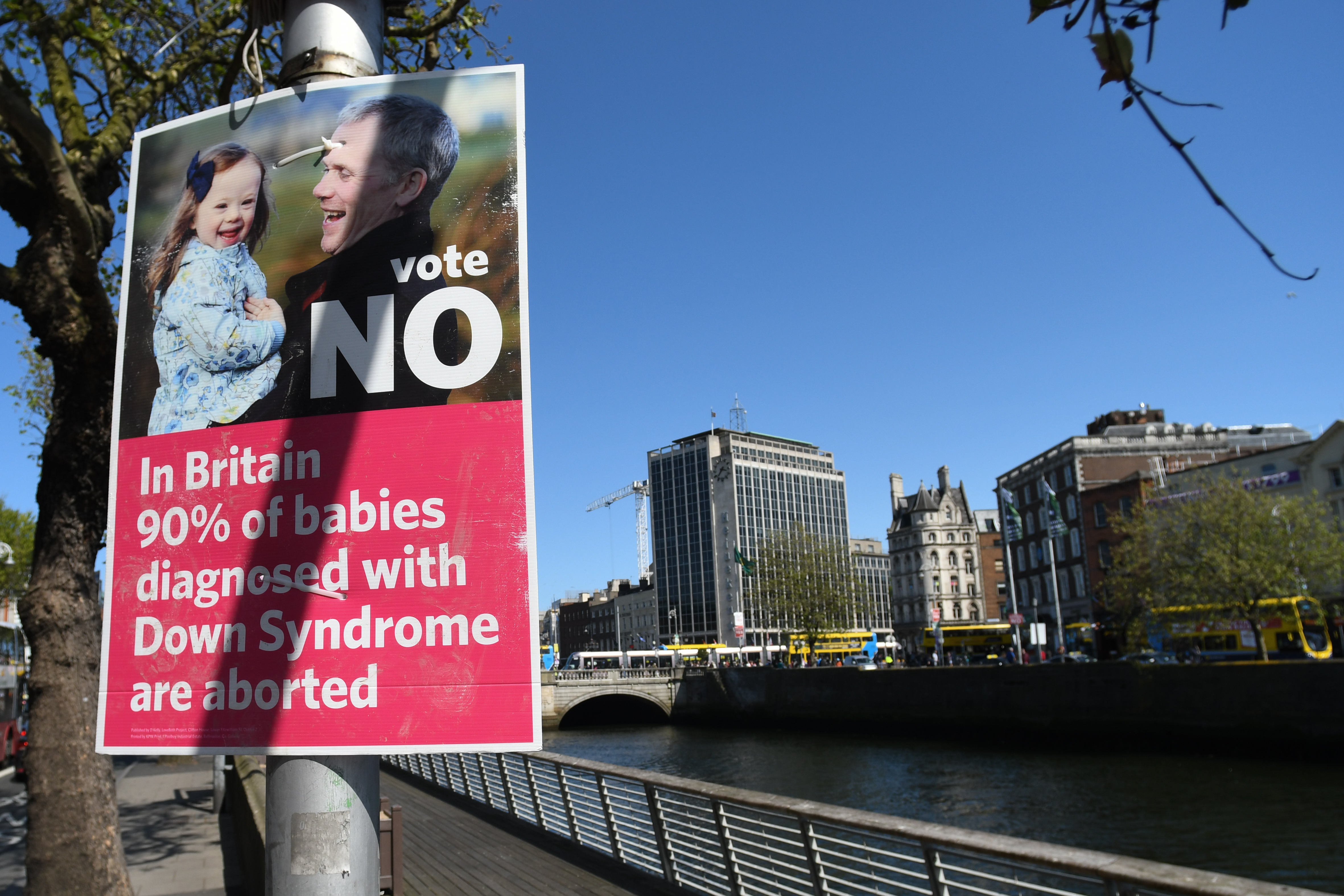 A poster calling for a 'NO' vote in the referendum to retain the eighth amendment of the Irish constitution seen near Liffey river, in Dublin's City Center on May 16, 2018.