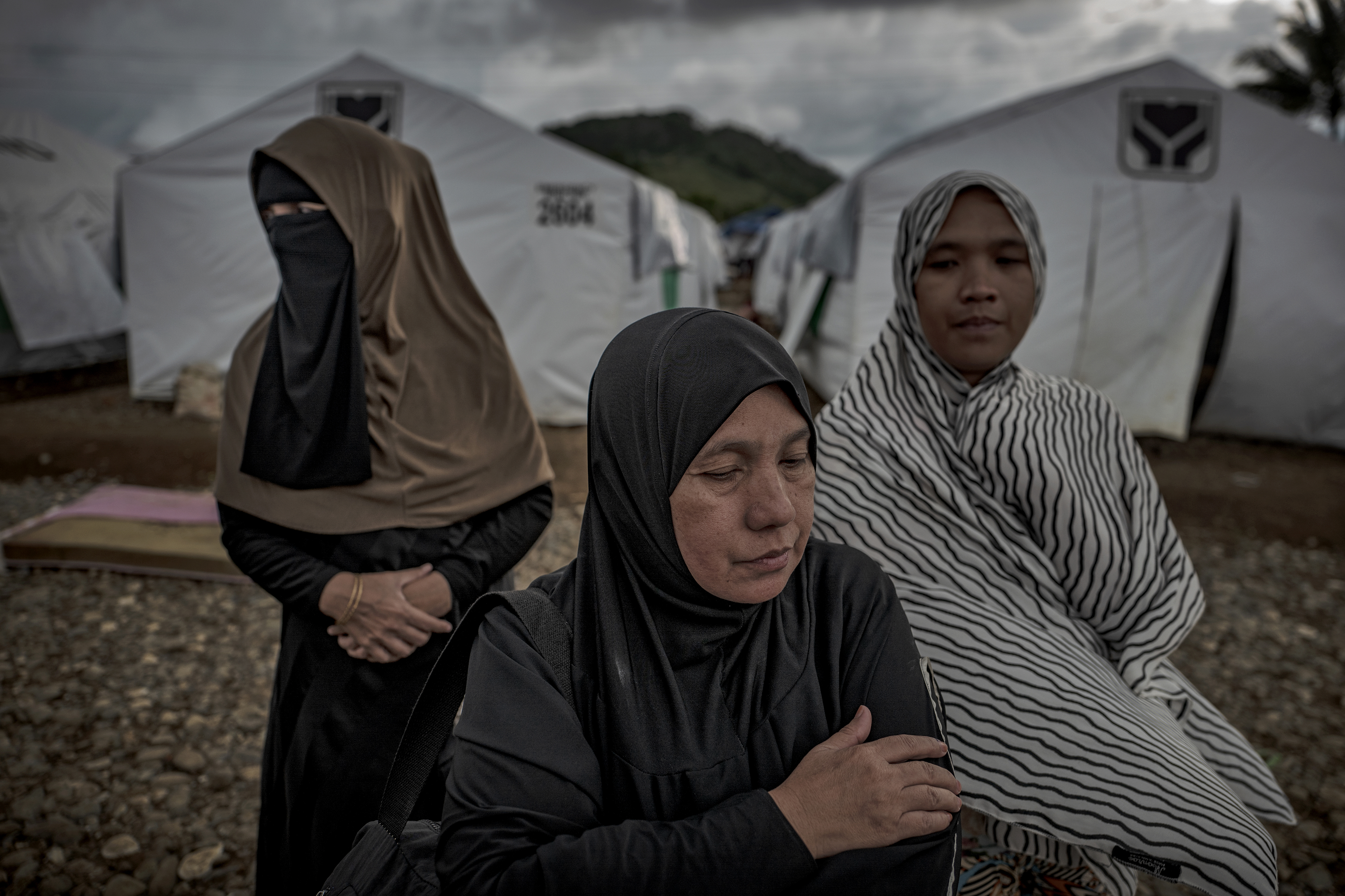 Displaced Marawi residents shelter inside a makeshift tent area on May 14, 2018 in Marawi, Philippines.