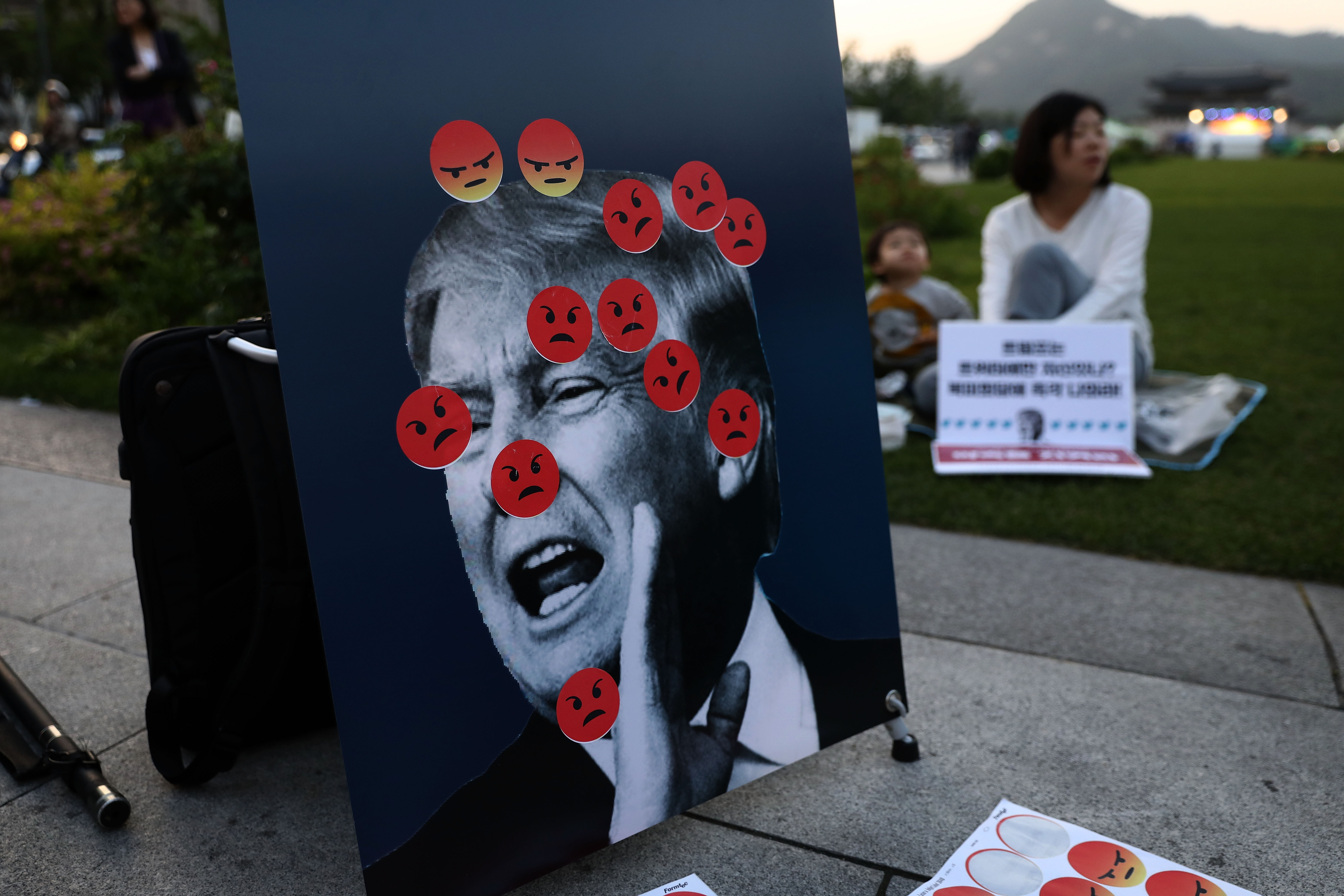 Activists gather in front of the U.S. embassy to demand peace for the Korean peninsula after the cancellation of the U.S. and North Korea summit on May 25, 2018 in Seoul, South Korea.