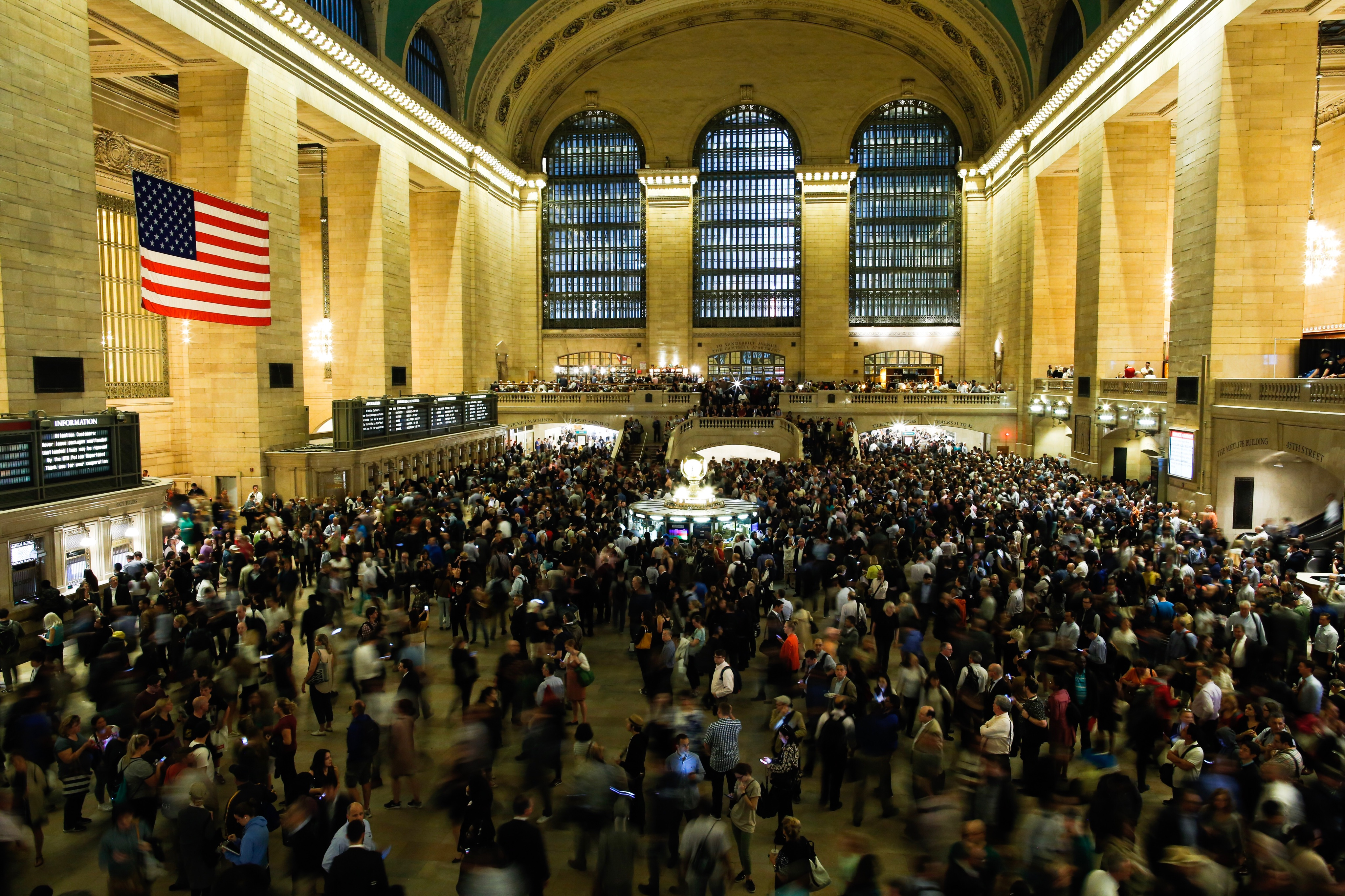 Commuters wait for train service to be restored after a severe thunderstorm downed trees that caused power outages resulting in several Metro-North lines being suspended at Grand Central Terminal on May 15, 2018 in New York City.