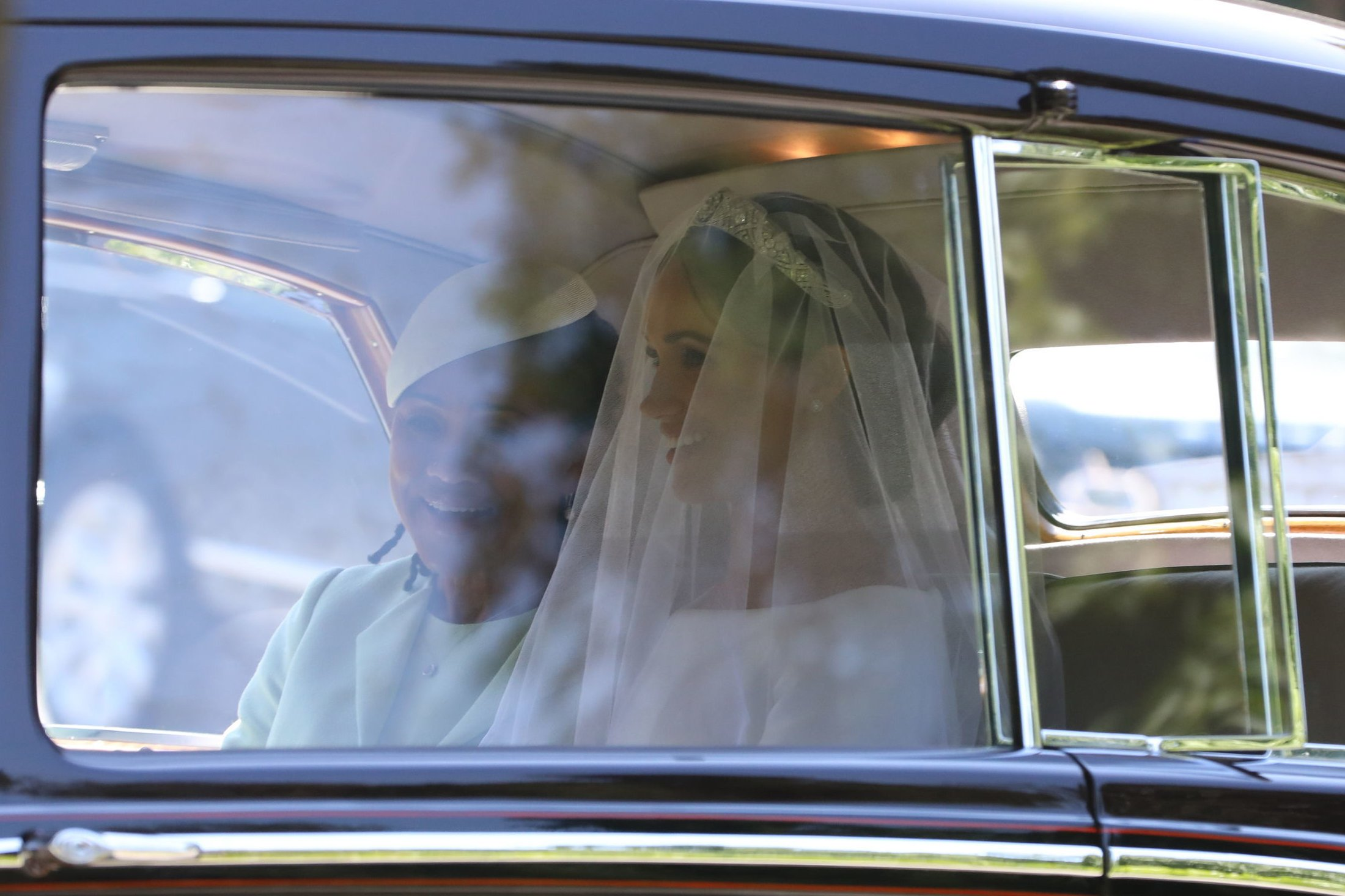 Meghan Markle leaves the Cliveden House Hotel, accompanied by her mother, Doria Ragland, for the wedding ceremony at Windsor Castle.