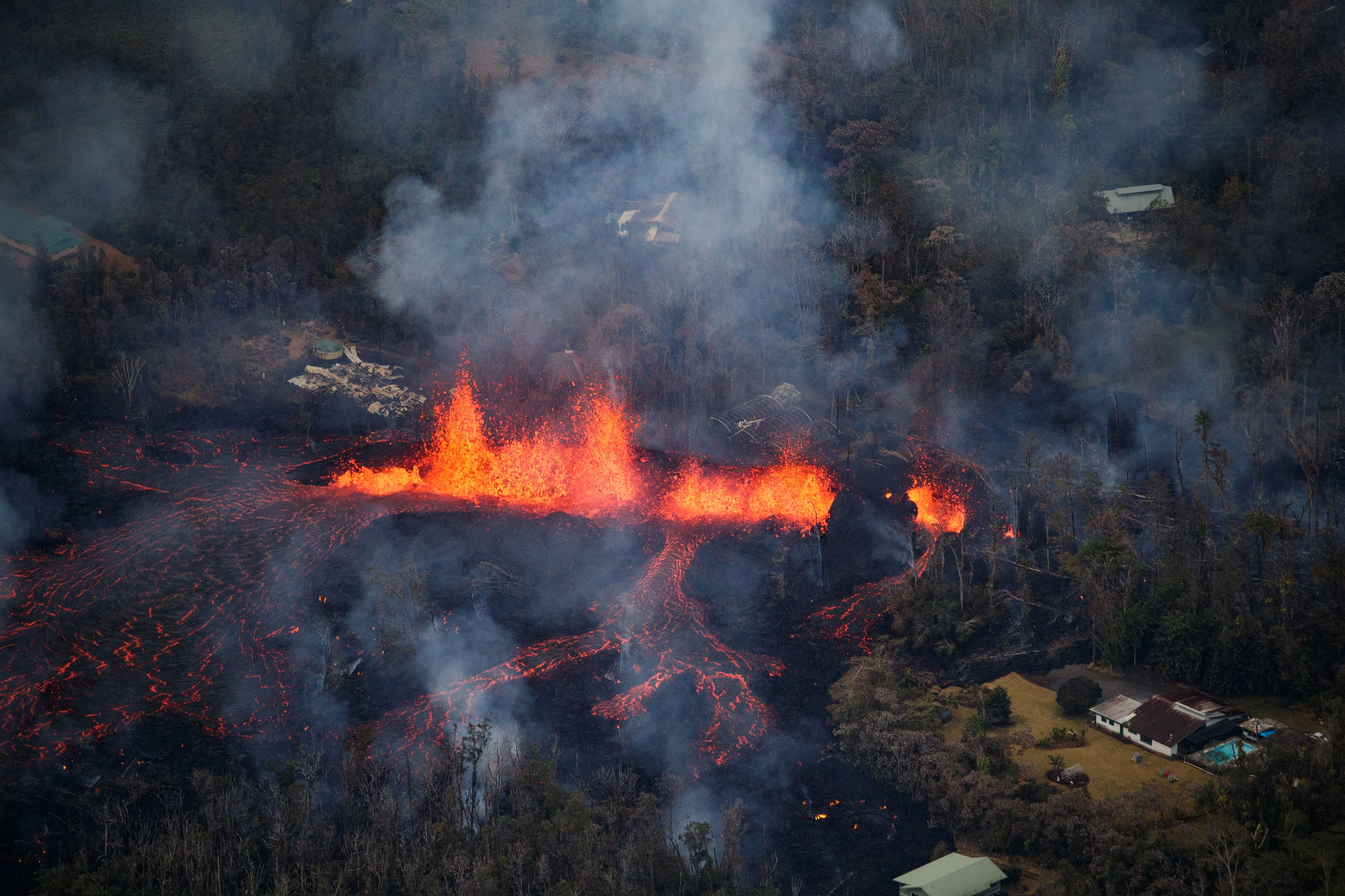 Lava is spewed into the air from a fissure in the Leilani Estates subdivision on May 6.