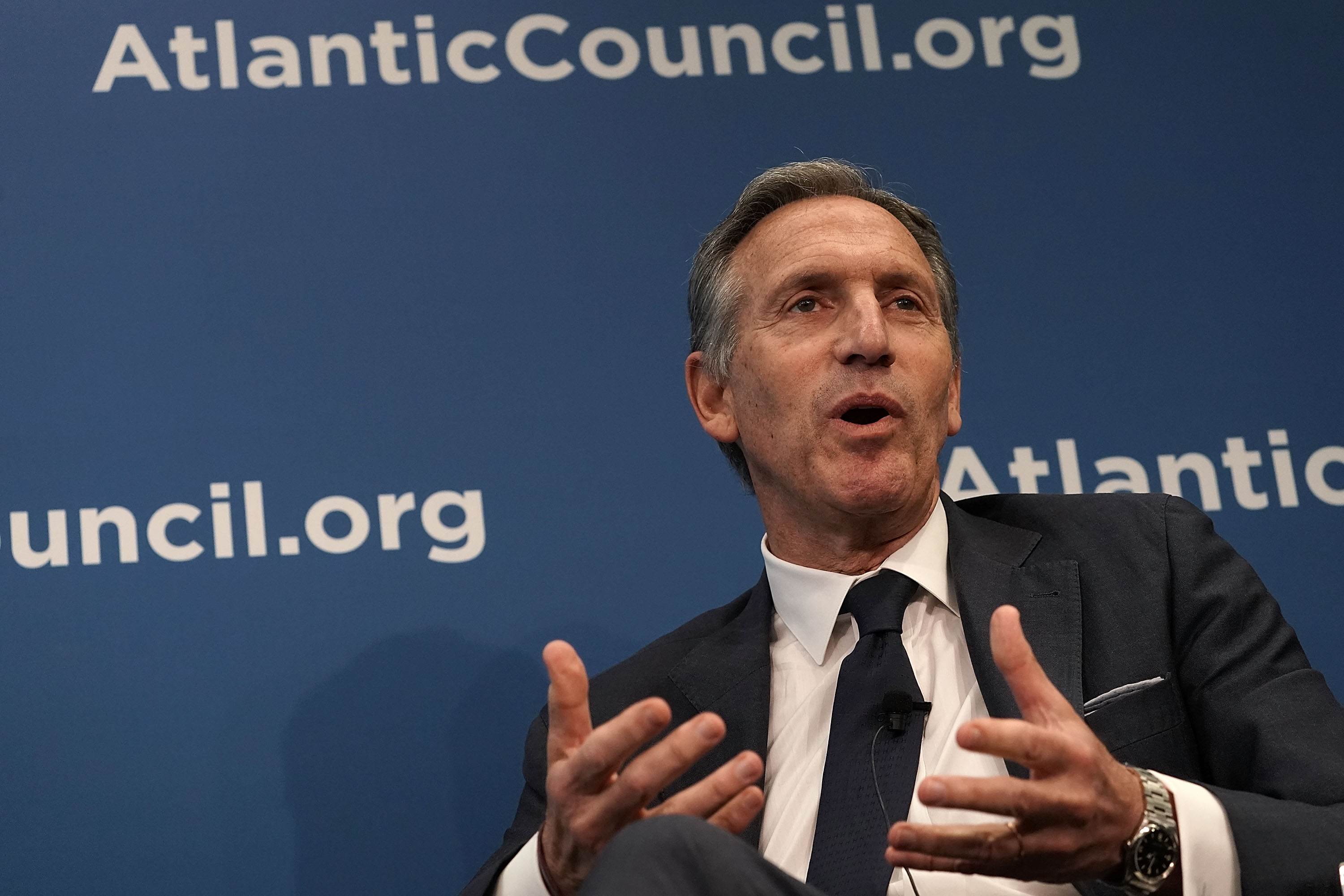 Executive Chairman of Starbucks Corporation Howard Schultz participates in a discussion at the Atlantic Council May 10, 2018 in Washington, DC.