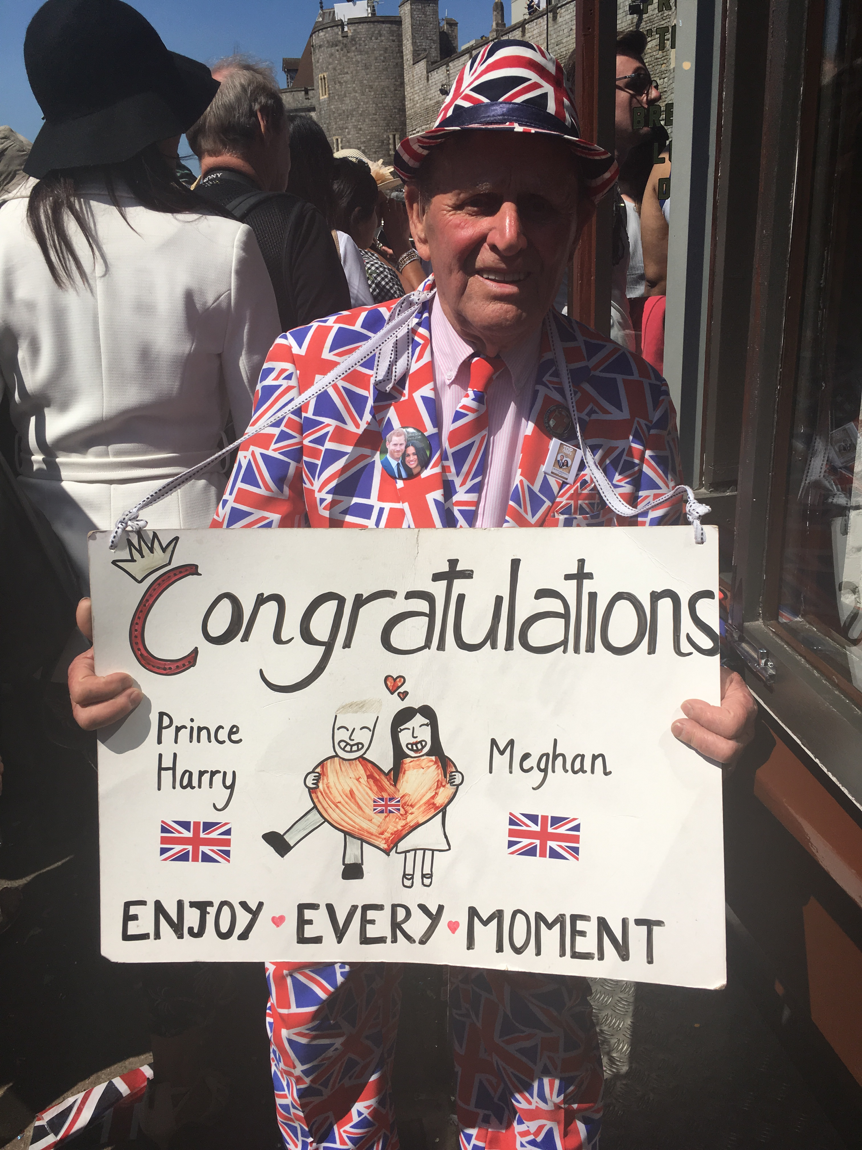 Long-term royal fan Terry Hutt, 83, in Windsor following the wedding of Prince Harry and Meghan Markle, on May 19 2018.