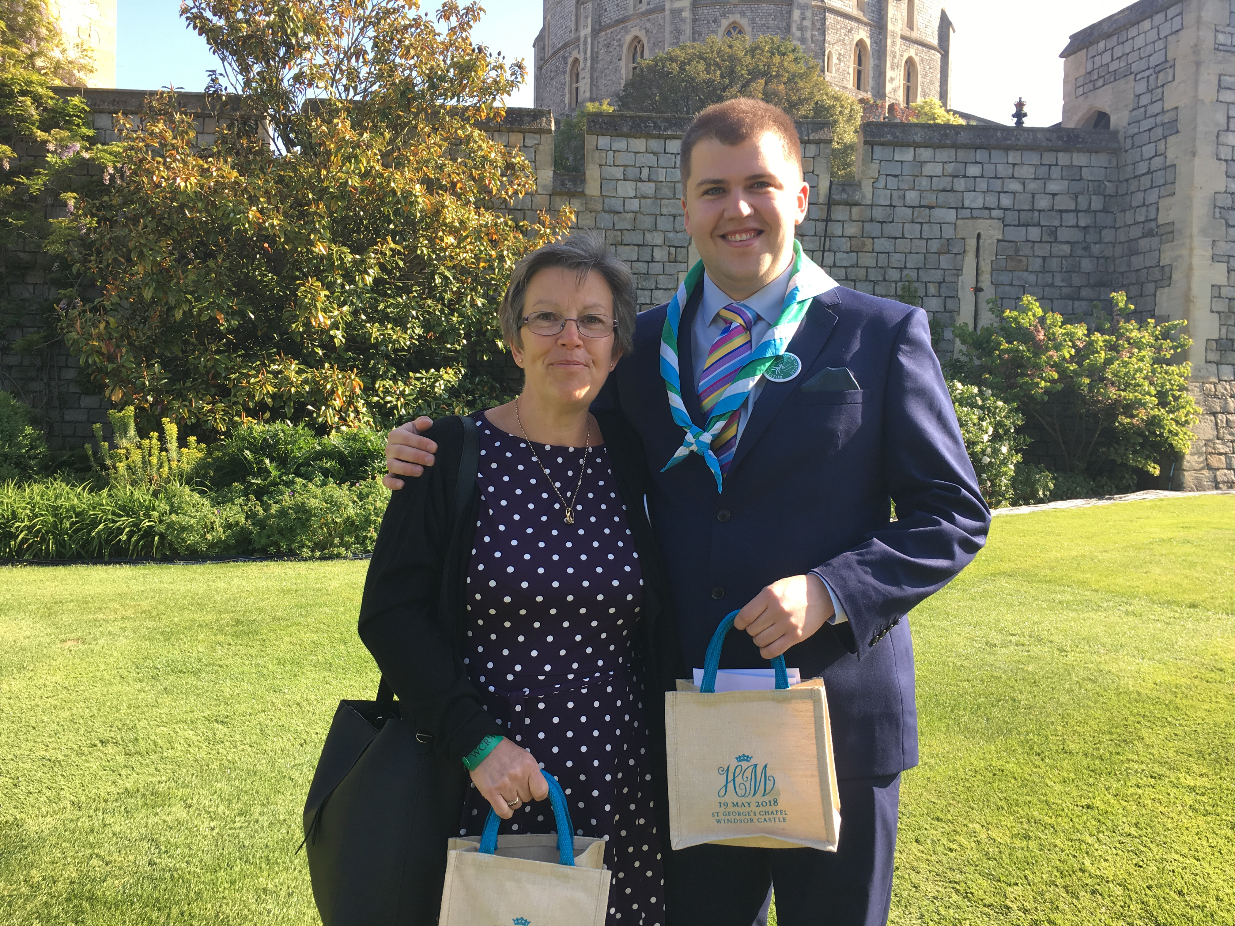 Joshua McLeod, right, and his mother, Sue McLeod, in the grounds of Windsor Castle for the wedding of Prince Harry and Meghan Markle on May 19, 2018.
