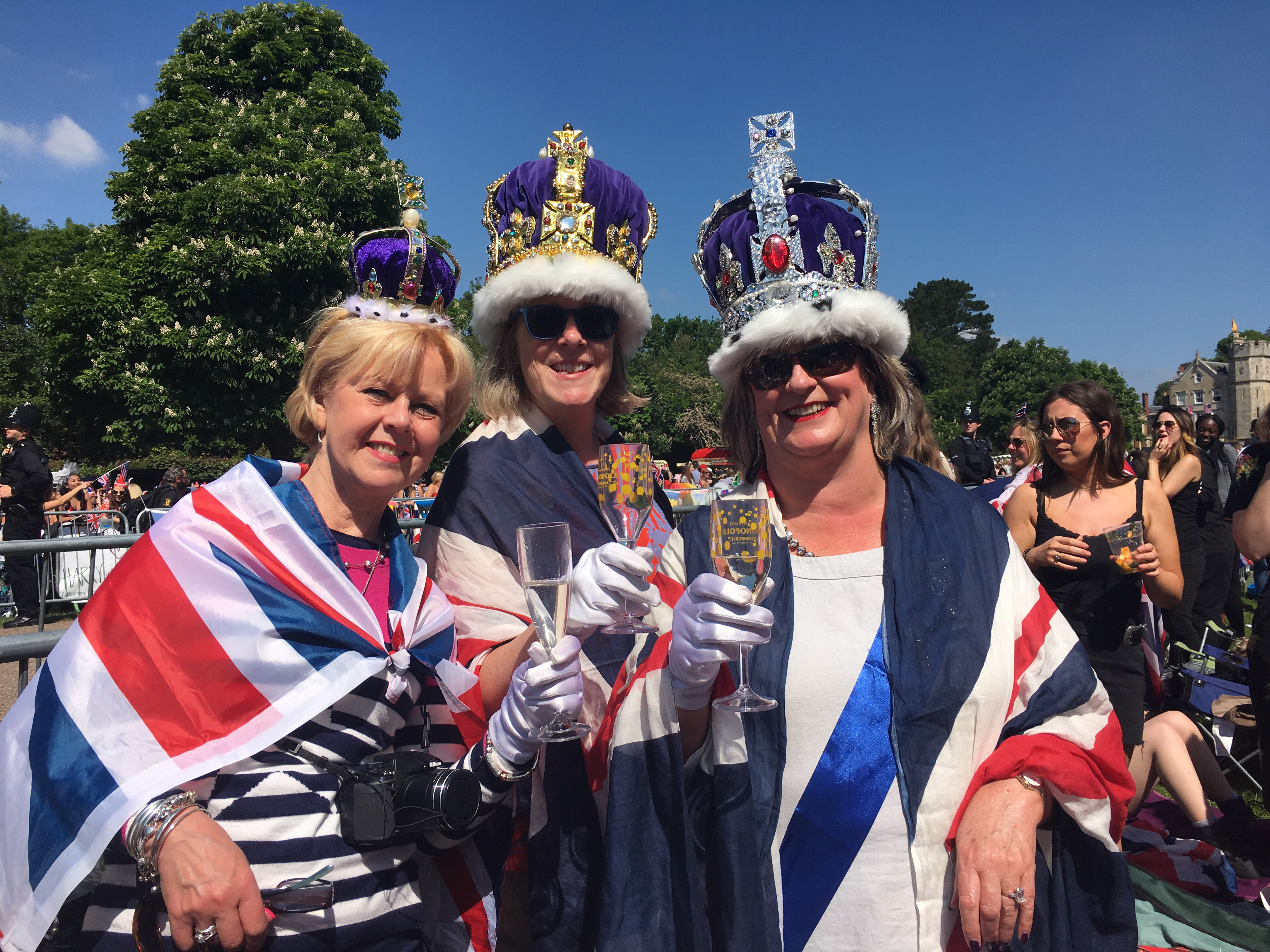 Jean Hood, Rebecca Hilliard and Caroline Wagstaff, residents of Windsor, among the crowds leading up to Windsor Castle on May 19, 2018.