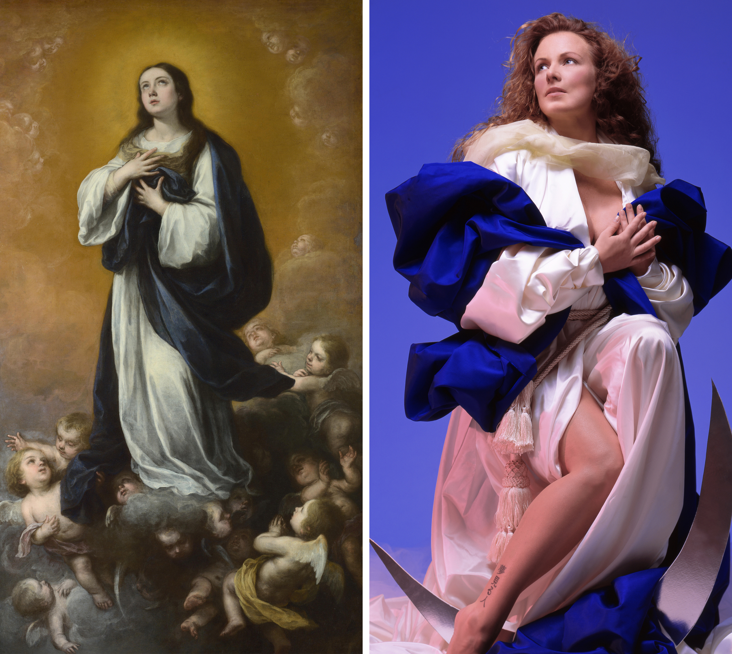 Left: Bartolomé Esteban Murillo and studio, The Immaculate Conception of the Virgin, 17th century (Getty Images); Right: Nika Nesgoda, Immaculatum Conceptionem, 2002