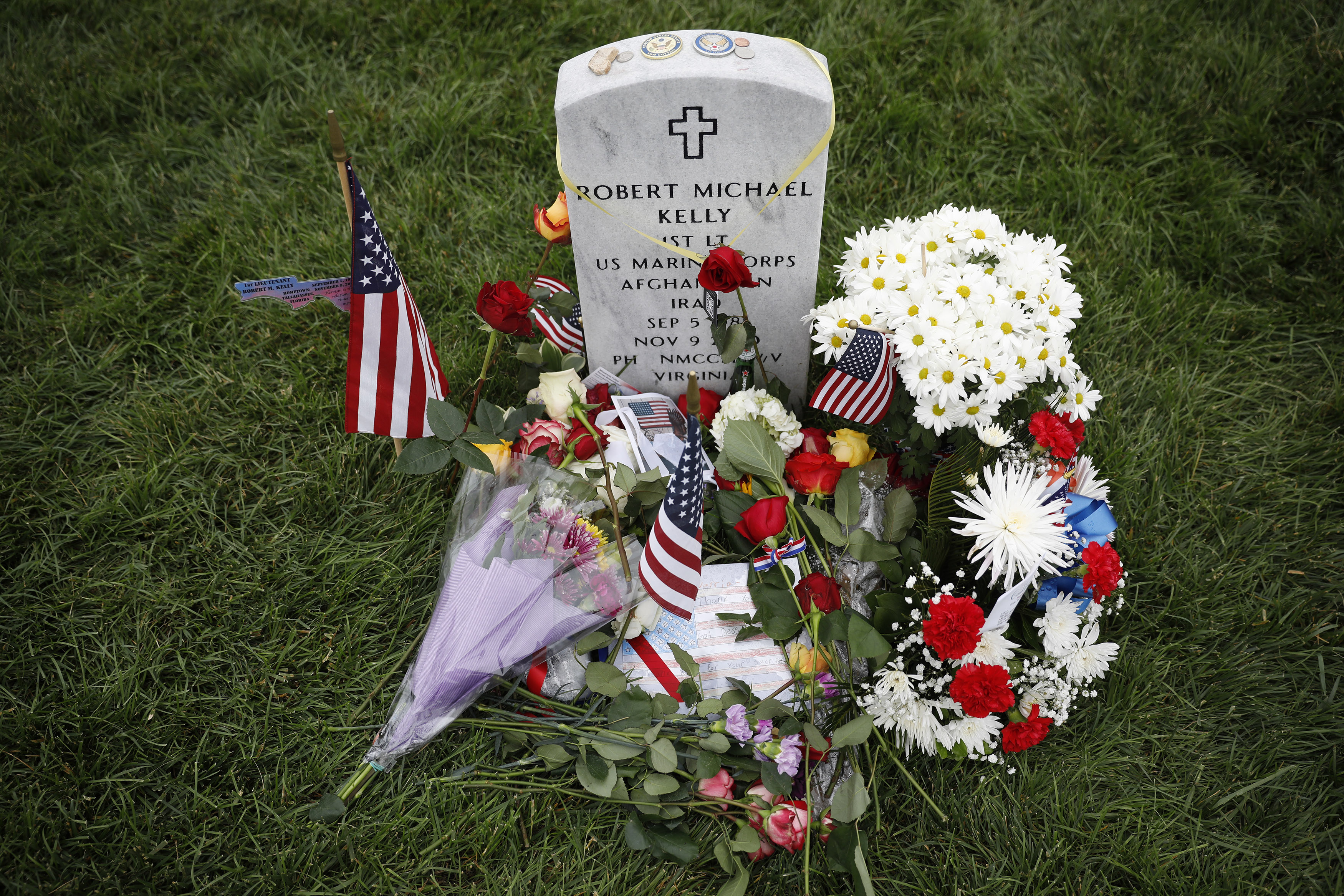 The grave of Marine Lt. Robert Kelly, son of White House Chief of Staff John Kelly, is seen at Arlington National Cemetery on Memorial Day, May 27, 2018 in Arlington, Virginia