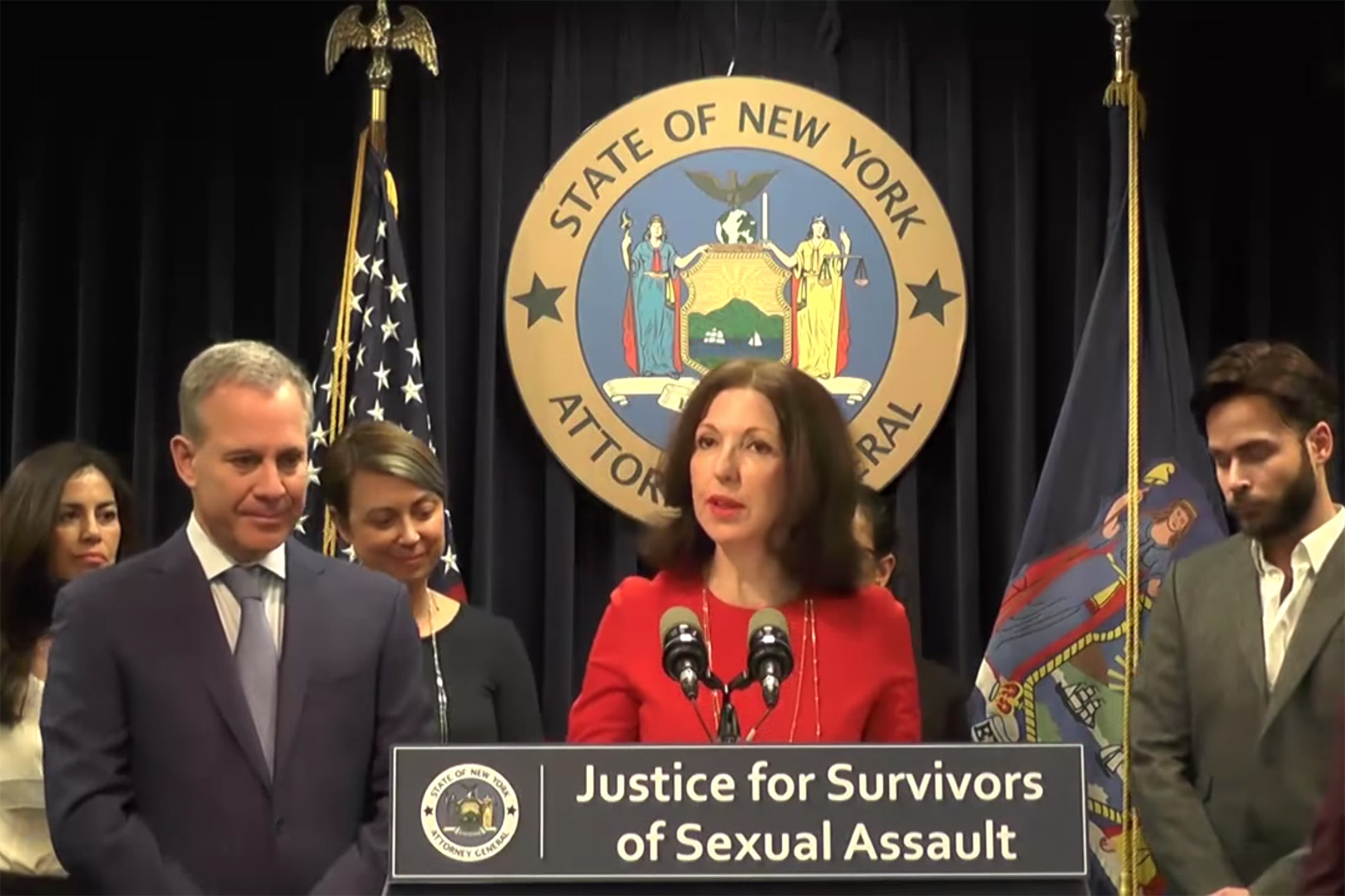 In this screen grad from the YouTube channel of the Office of Attorney General Eric T. Schneiderman, Judy Harris Kluger speaks at a press conference discussing protection of survivors of sexual assault in New York, on Nov 28, 2017.