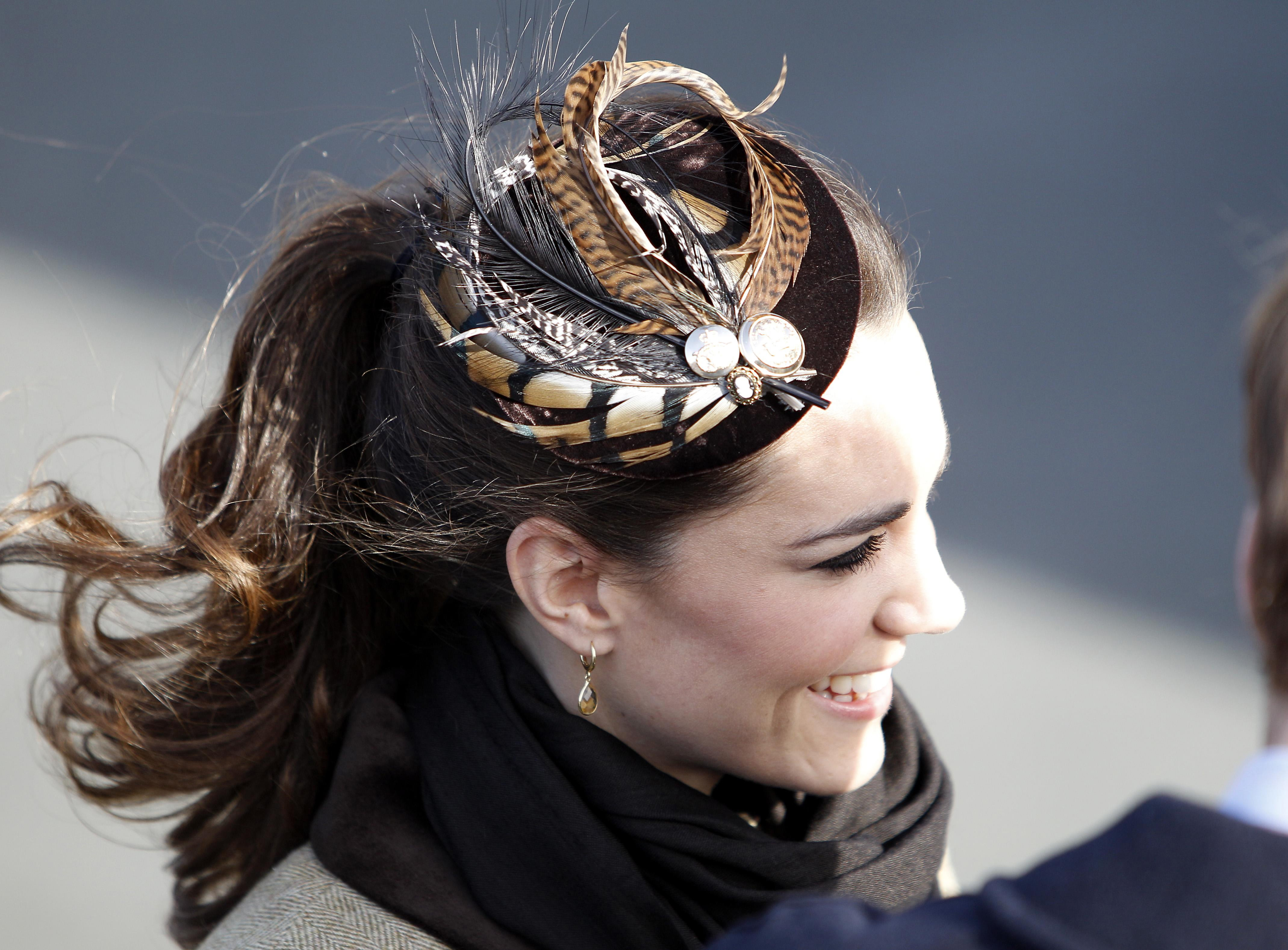 Kate Middleton wears a Vivien Sheriff hat at a service of dedication for a new RNLI lifeboat at Trearddur Bay Lifeboat Station in Anglesey, North Wales.