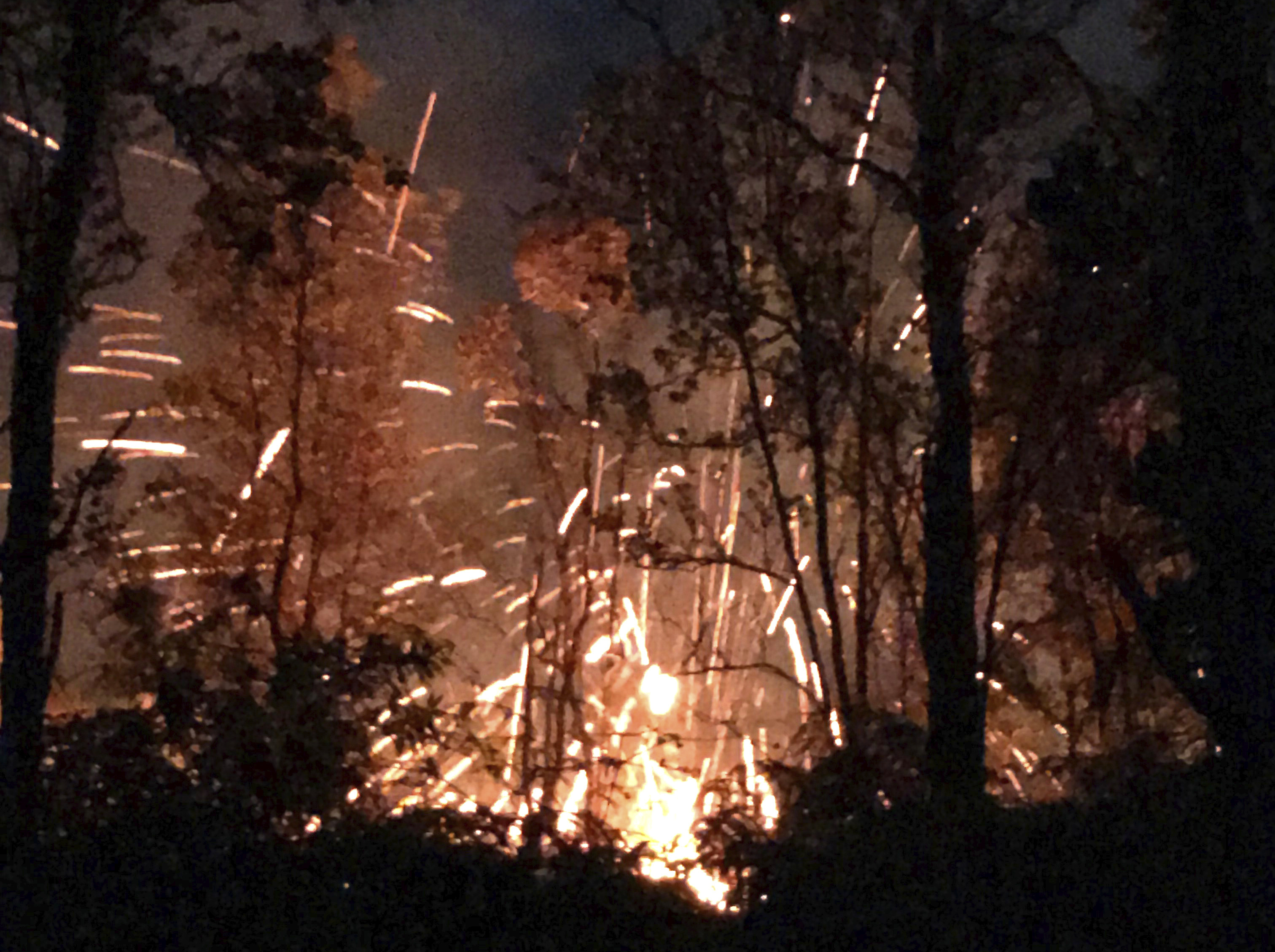 This photo provided by Shane Turpin shows results of the eruption from Kilauea Volcano on Hawaii's Big Island Friday, May 4, 2018.