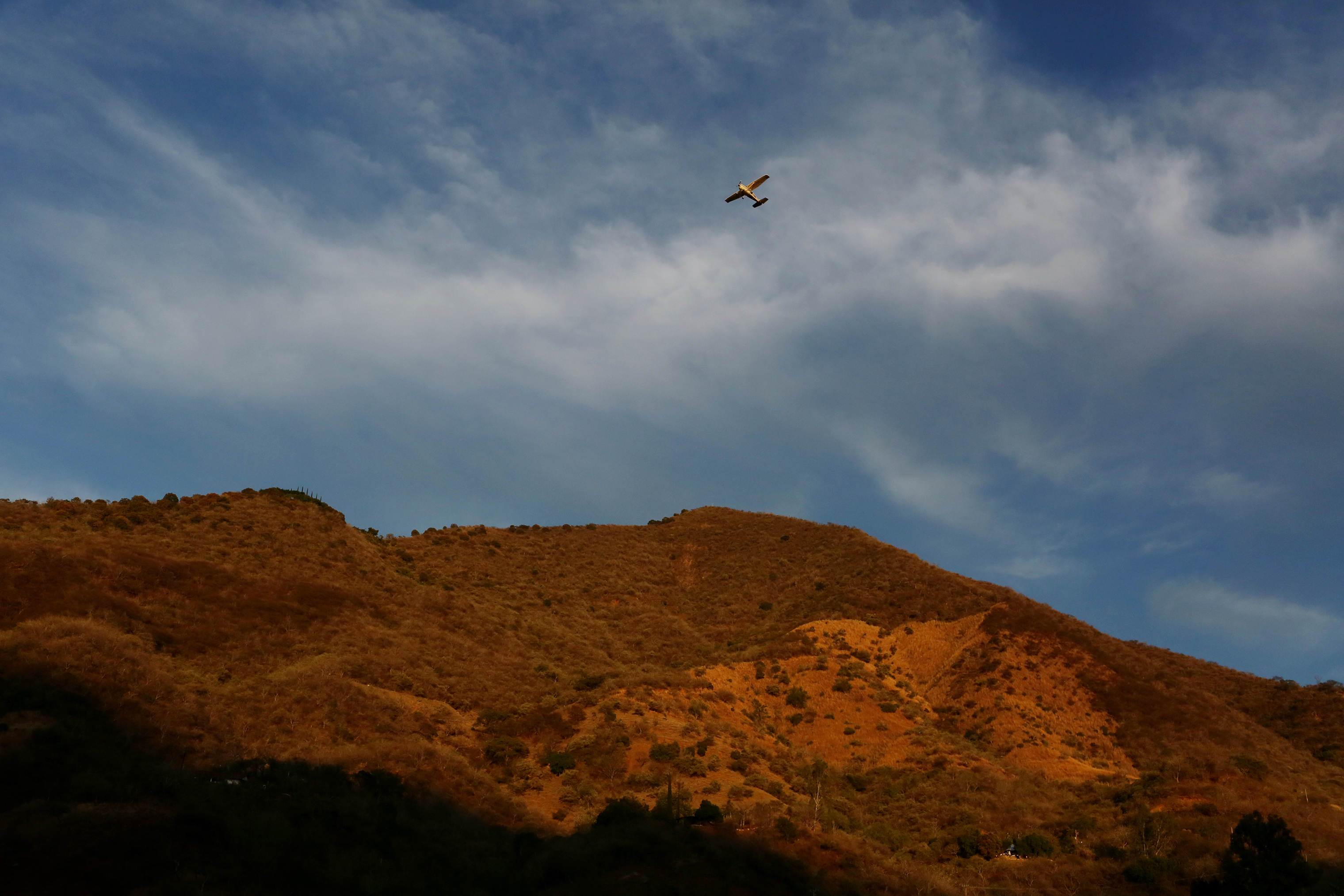 A small private plane takes off from the hilltop next to La Tuna in February.