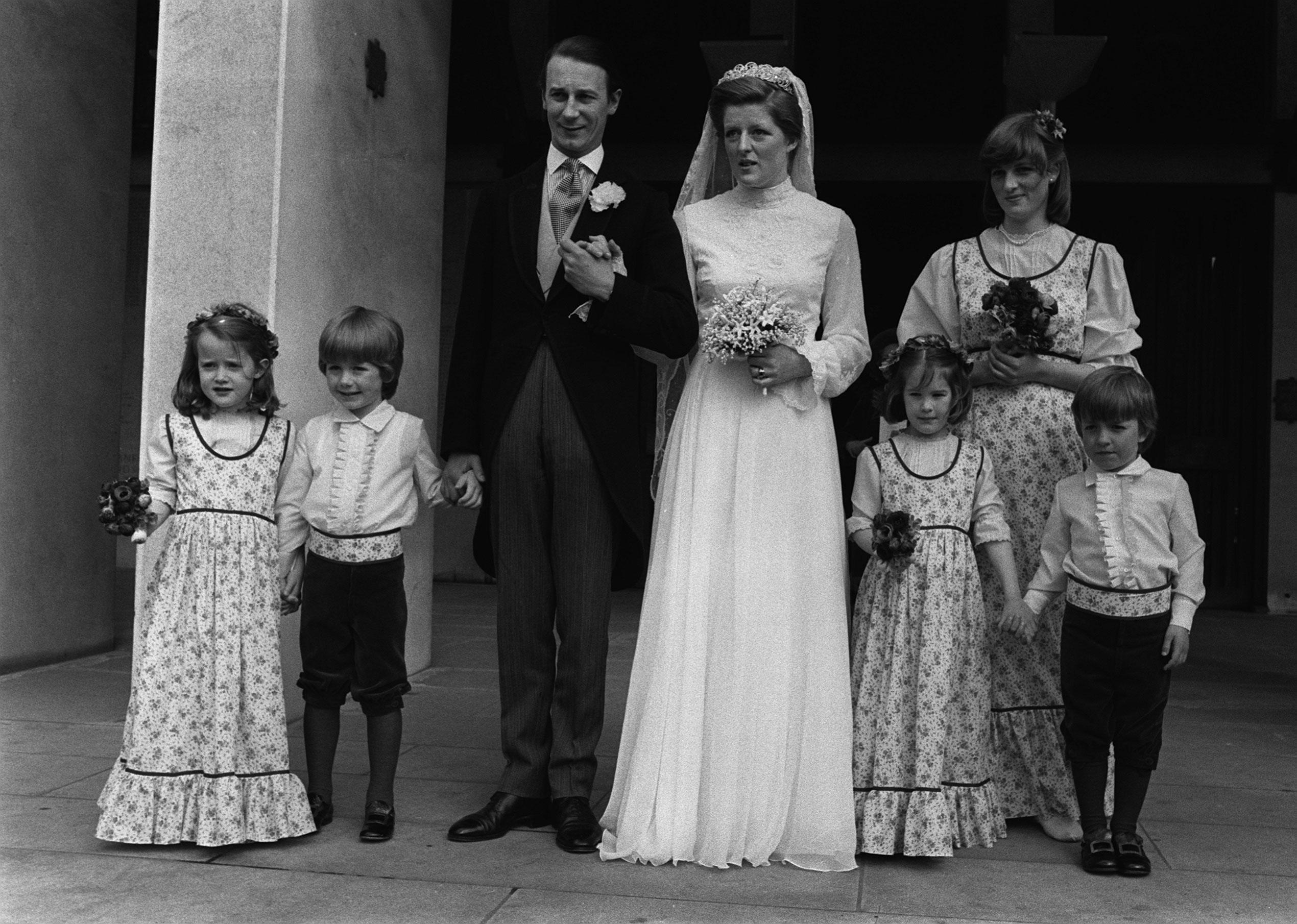 Lady Jane Fellowes married Robert Fellowes in 1978. Her sister, Princess Diana (right), served as a bridesmaid.