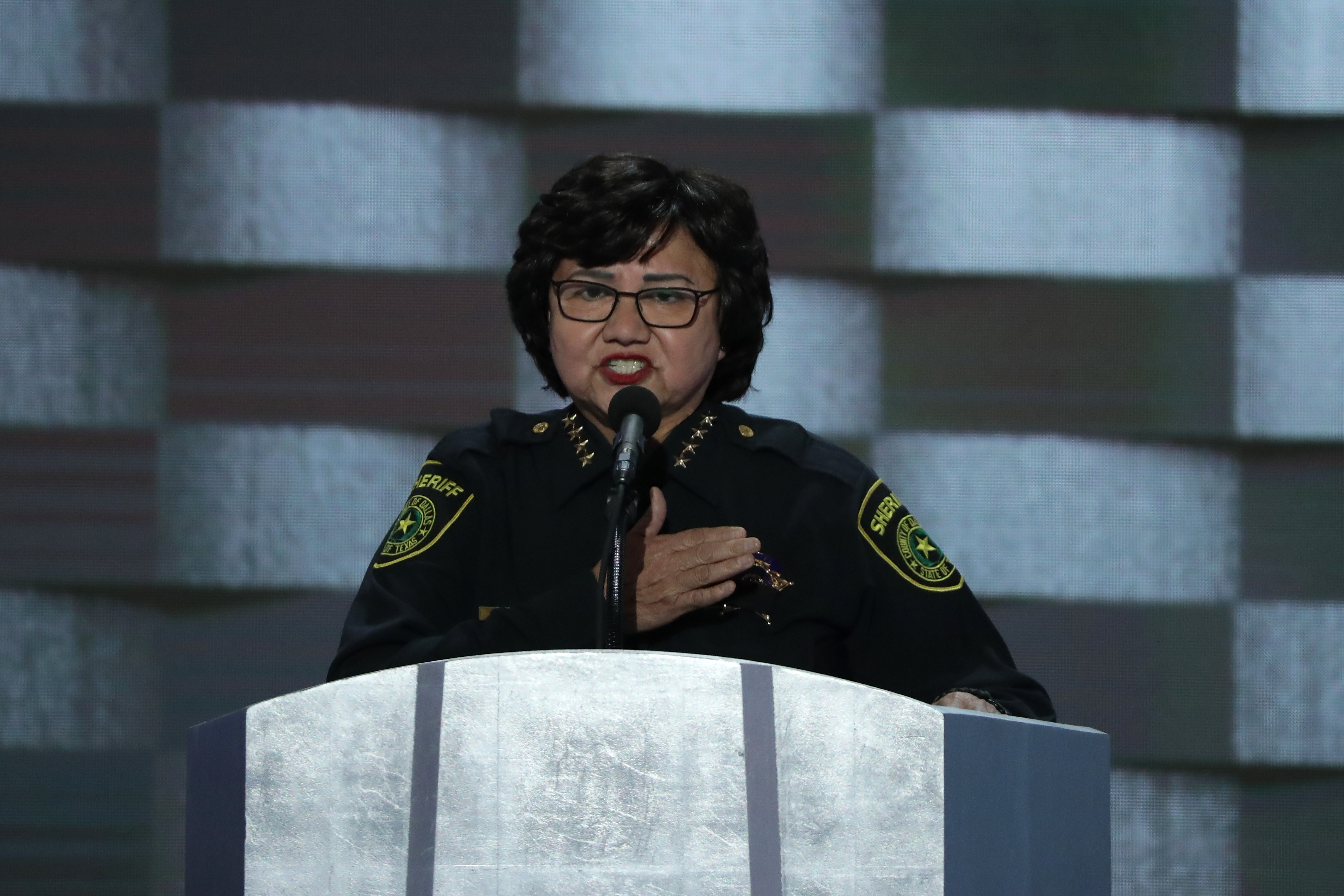 Then-Dallas Sheriff Lupe Valdez delivers remarks on the fourth day of the Democratic National Convention at the Wells Fargo Center, July 28, 2016 in Philadelphia.