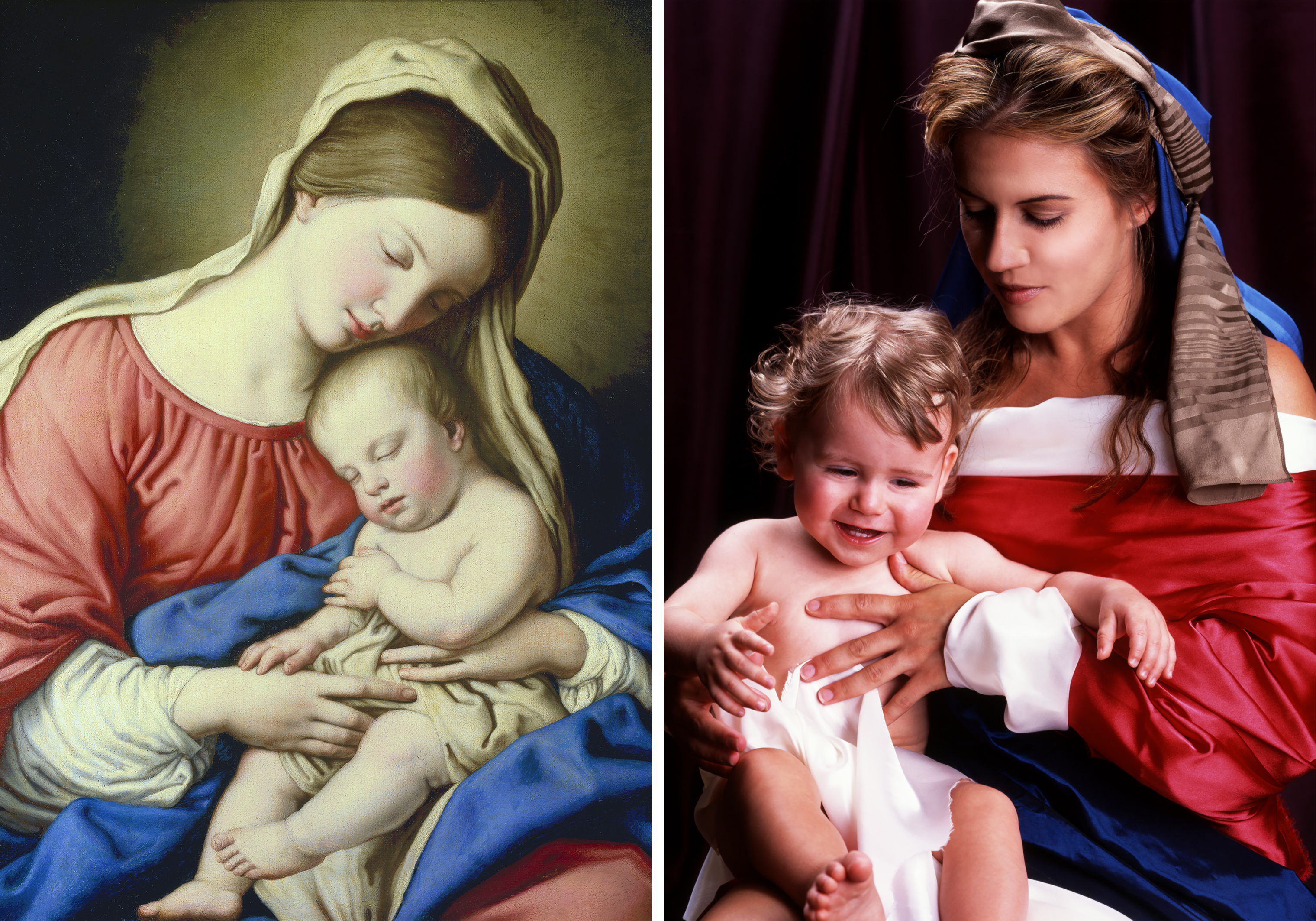 Left: Salvi Giovanni Battista, also known as il Sassoferrato, Madonna and Child, 17th century (Getty Images); Right: Nika Nesgoda, Madonna et Puerum, 2002