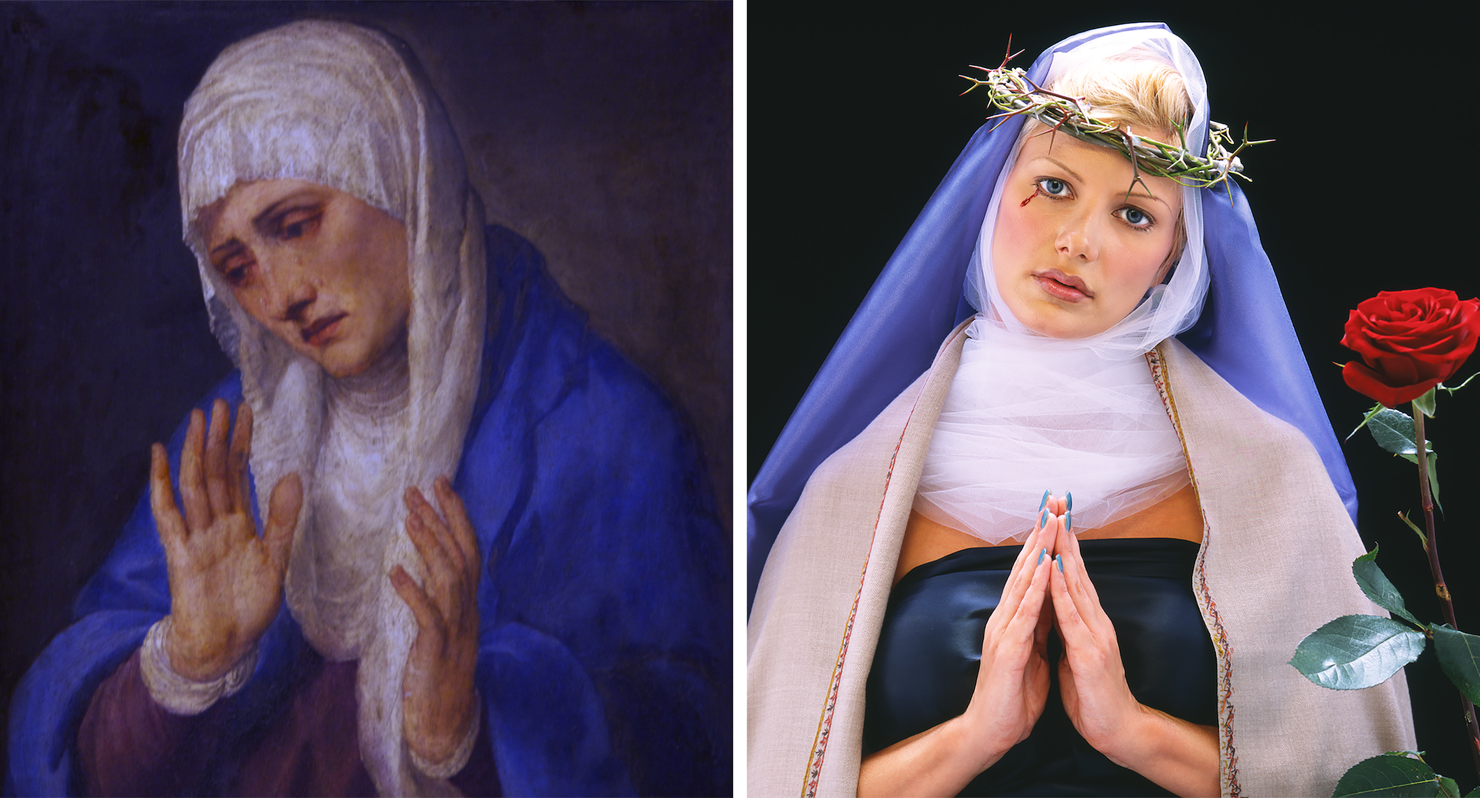 Left: Titian, The Virgin Dolorosa With her Hands Apart, 1555 (Getty Images); Right: Nika Nesgoda, Nostra Domina Doloris, 2002