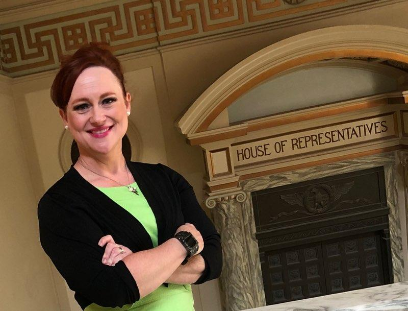 Melanie Spoon, a middle-school librarian in Oklahoma City, is running for office in the Republican primary against state Rep. Mike Osburn.