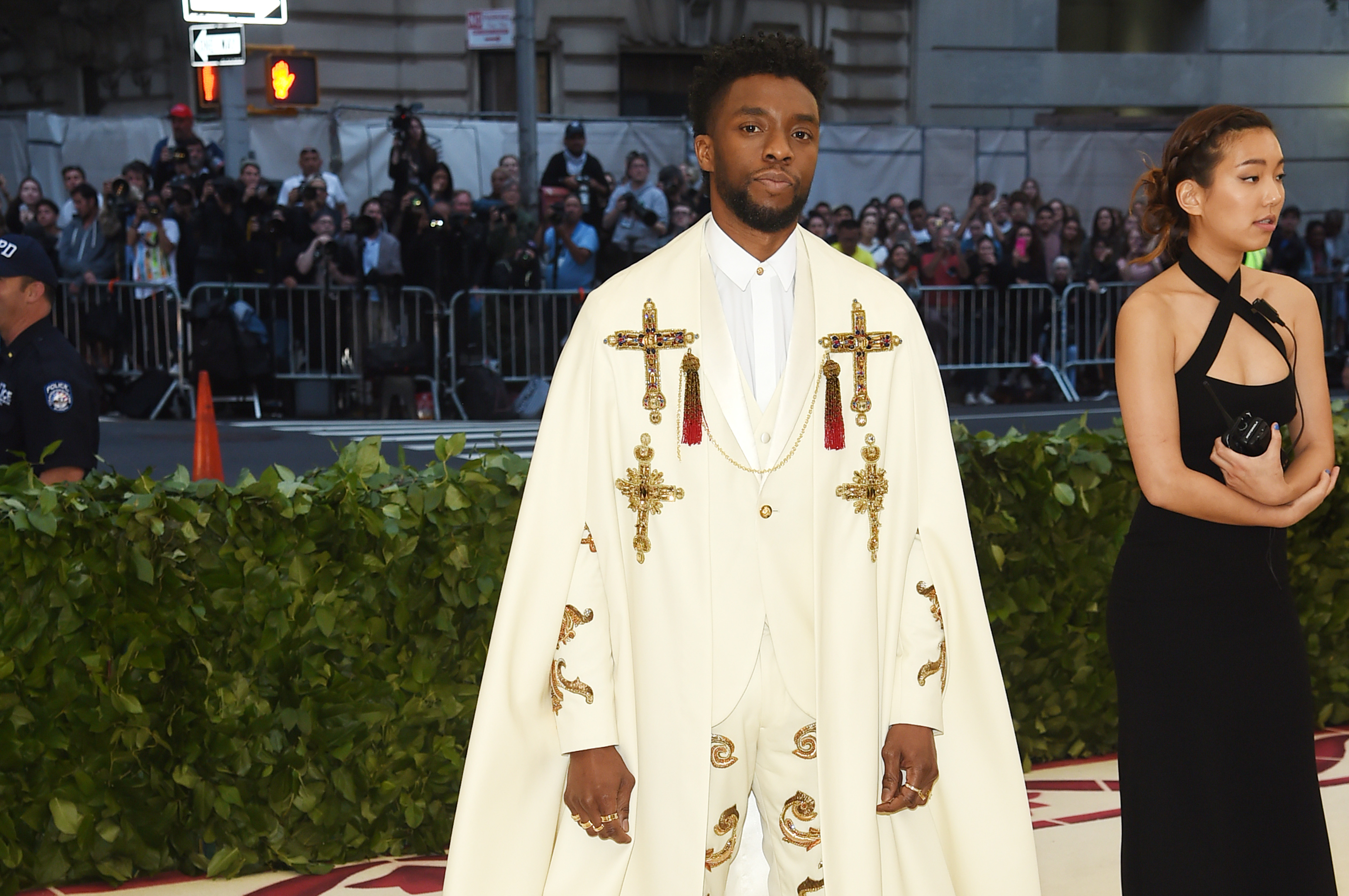 Chadwick Boseman attends the Heavenly Bodies: Fashion & The Catholic Imagination Costume Institute Gala at The Metropolitan Museum of Art on May 7, 2018 in New York City.