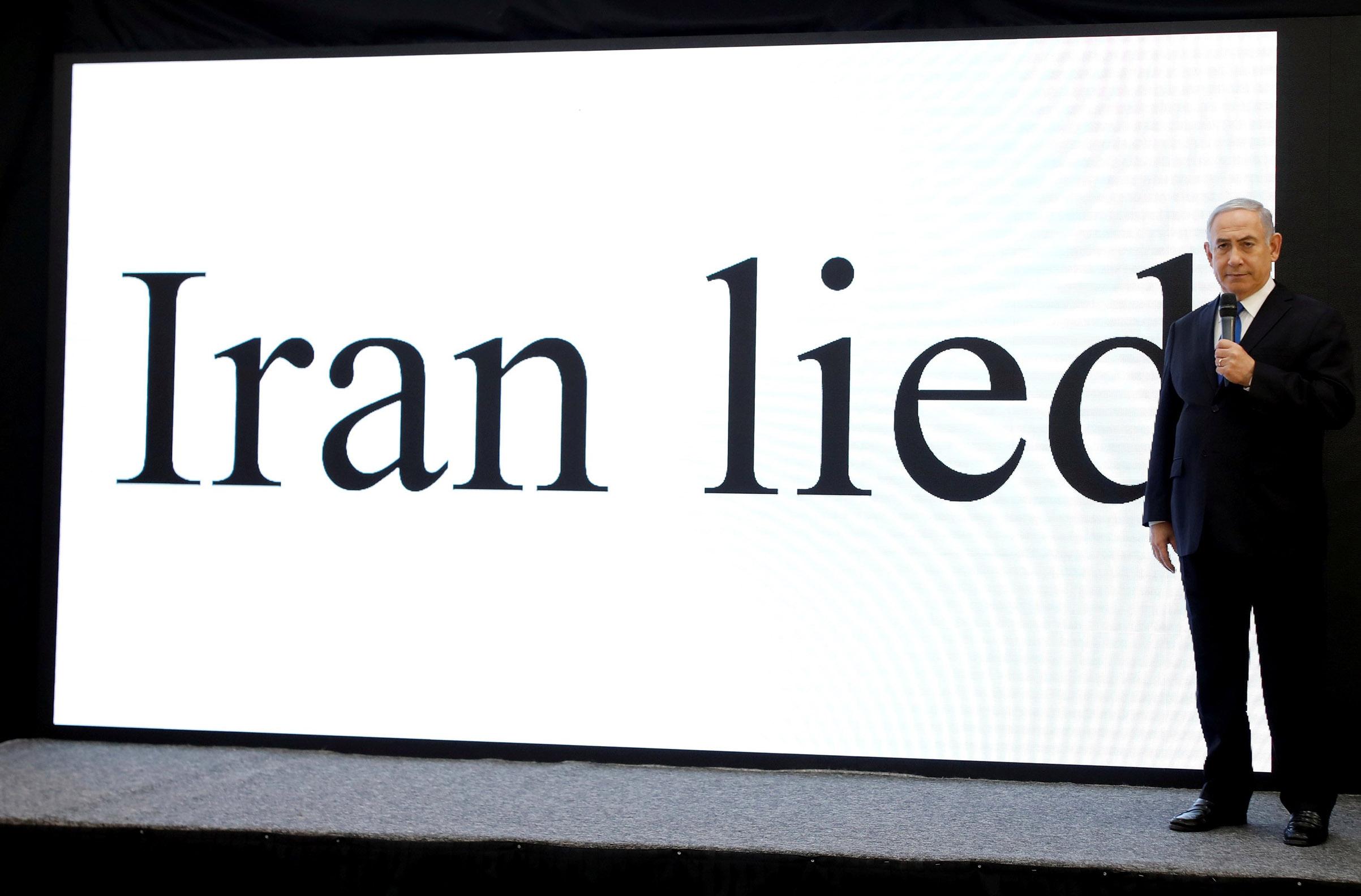 At a presentation in Tel Aviv on April 30, Israeli Prime Minister Benjamin Netanyahu accused Iran of hiding its nuclear program