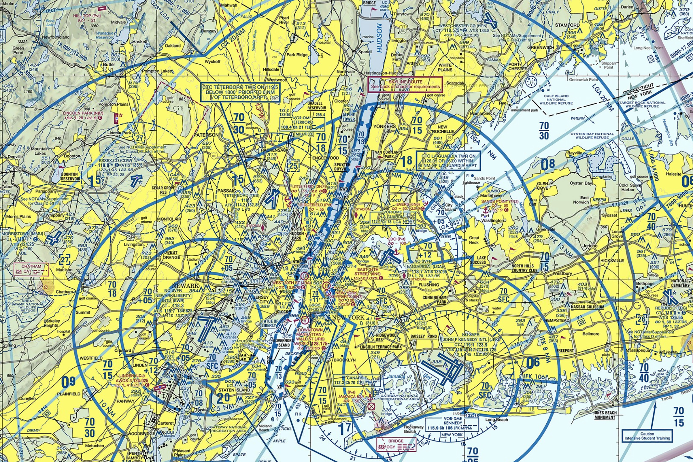 A sectional aeronautical chart of New York City showing the airspace above the city.