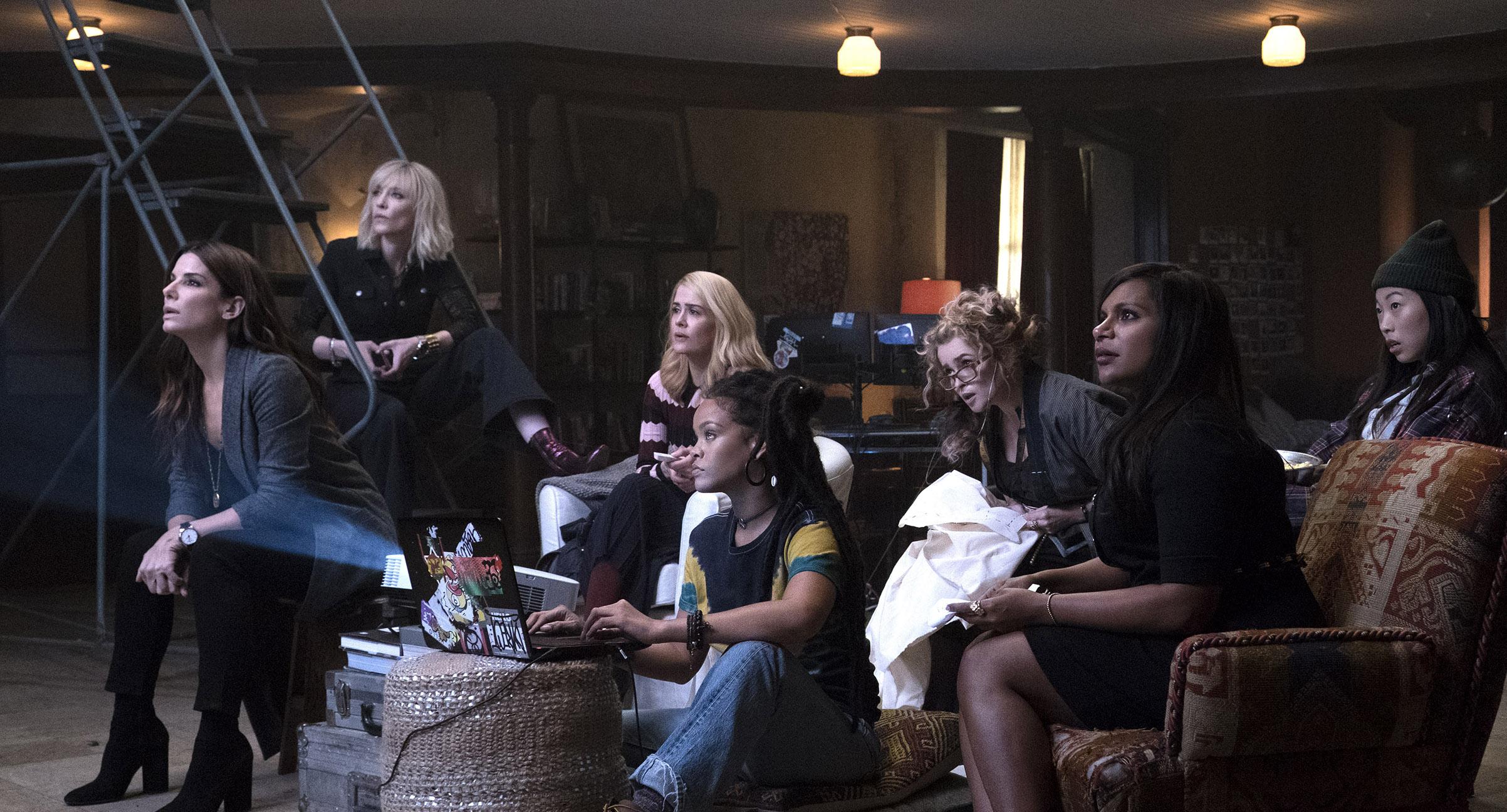 Meet The Crew From left to right: Sandra Bullock,  Cate Blanchett, Sarah Paulson, Rihanna, Helena Bonham Carter, Mindy Kaling and Awkwafina starring in Ocean's 8