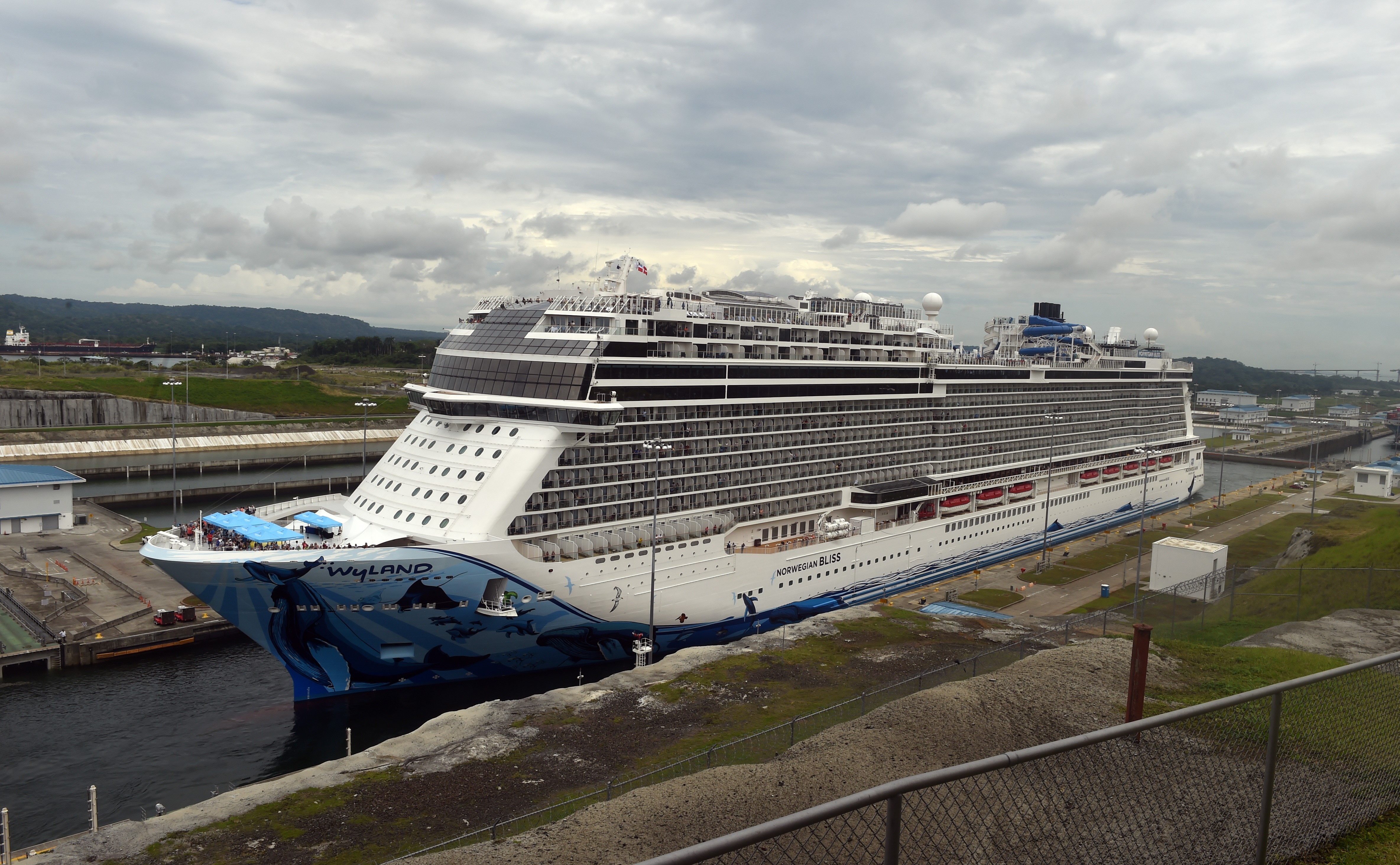 View of a cruise ship crossing the Panama Canal in the Agua Clara locks in Colon 80 km northwest from Panama City.