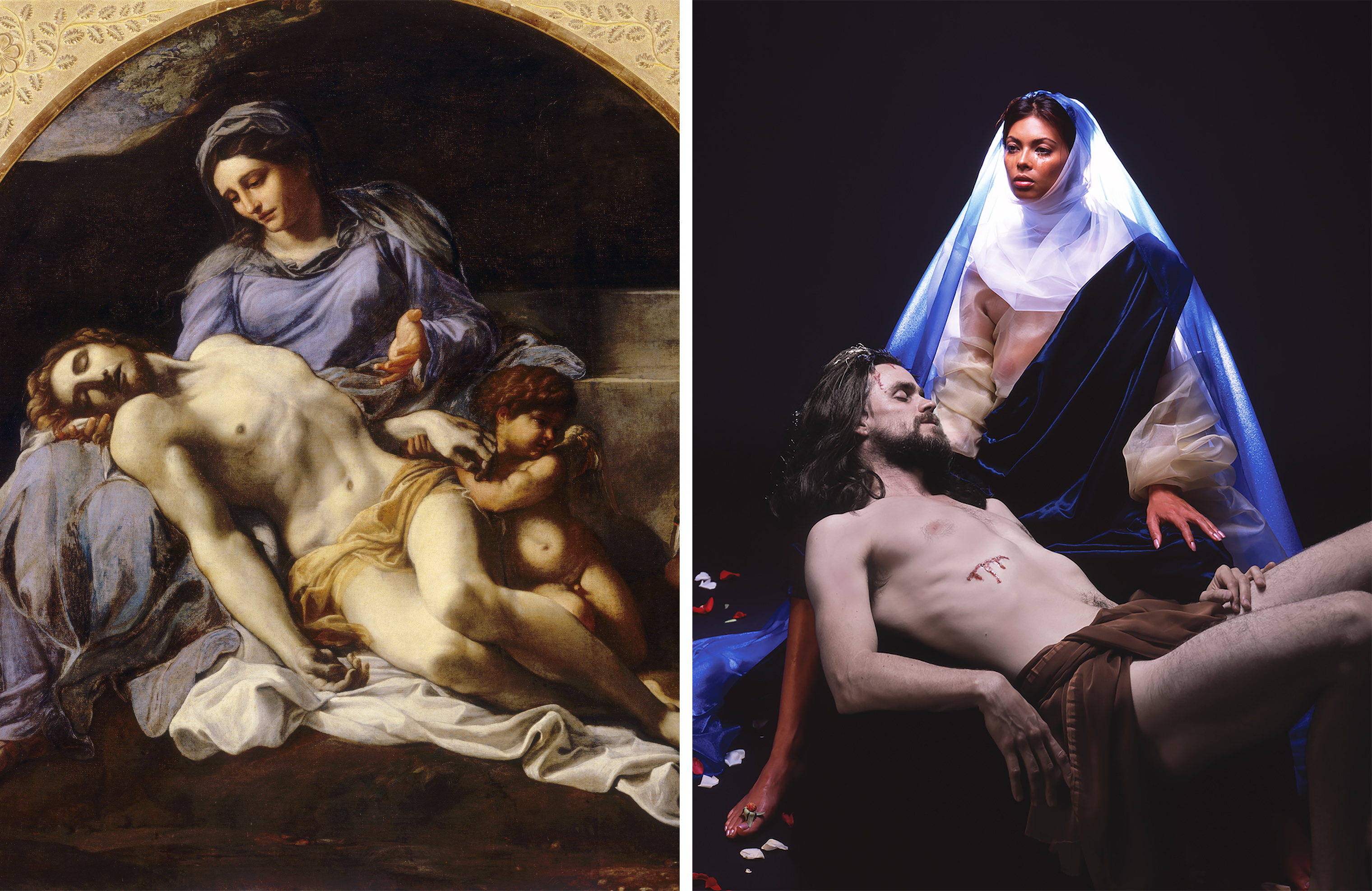 Left: Annibale Carracci, Pietà, 1599–1600 (Alinari Archives/Corbis/Getty Images); Right: Nika Nesgoda, Pietà, 2002