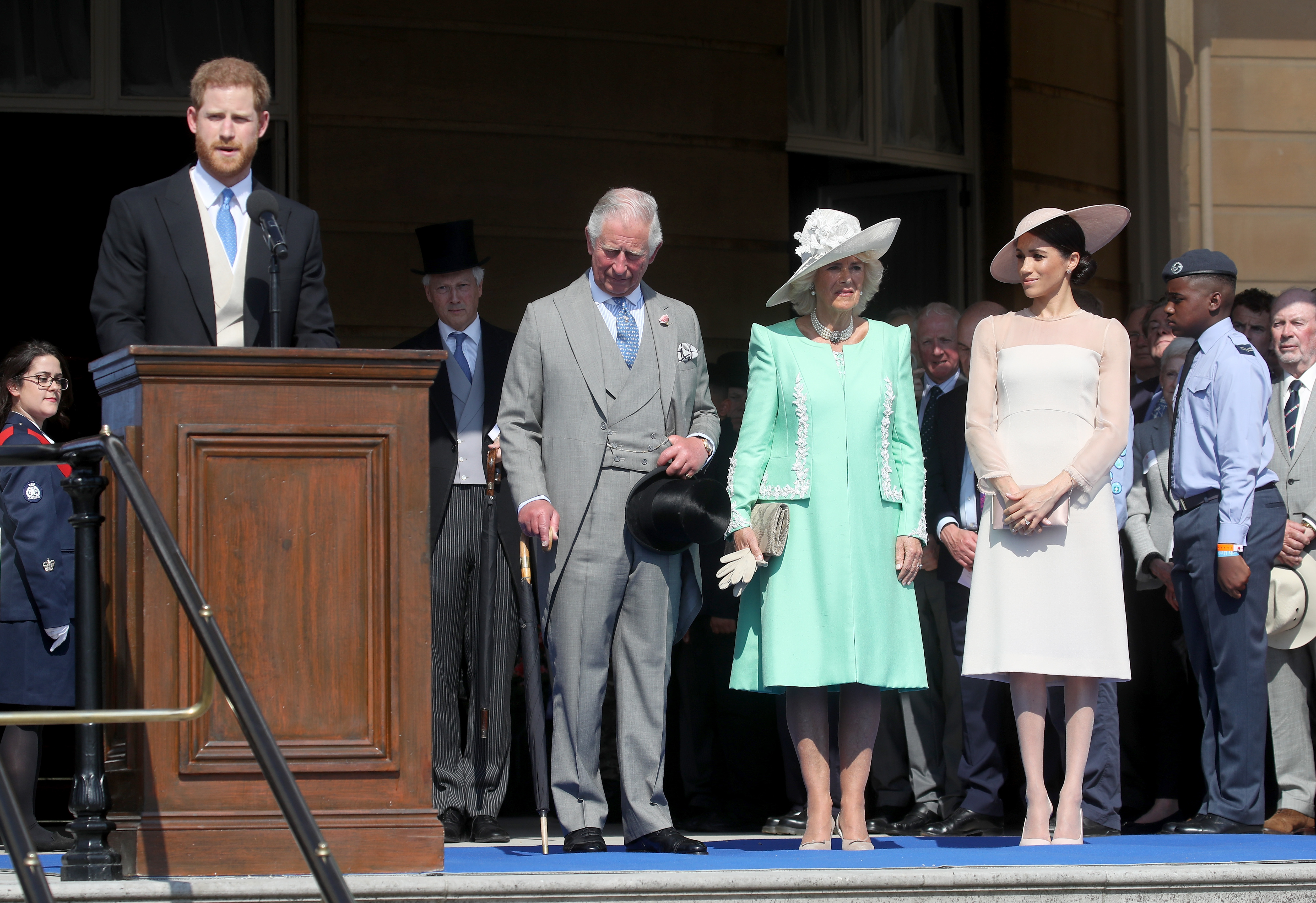 Prince Harry, Duke of Sussex gives a speech next to Prince Charles, Prince of Wales, Camilla, Duchess of Cornwall and Meghan, Duchess of Sussex as they attend The Prince of Wales' 70th Birthday Patronage Celebration held at Buckingham Palace on May 22, 2018 in London, England.