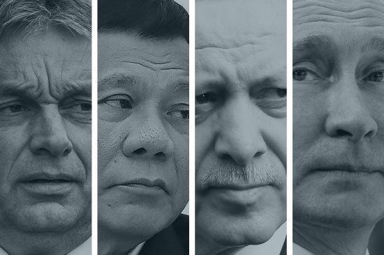 A composite photo of Hungarian Prime Minister Viktor Orban, Philippines' President Rodrigo Duterte, President of Turkey Recep Tayyip Erdogan, and Russian President Vladimir Putin