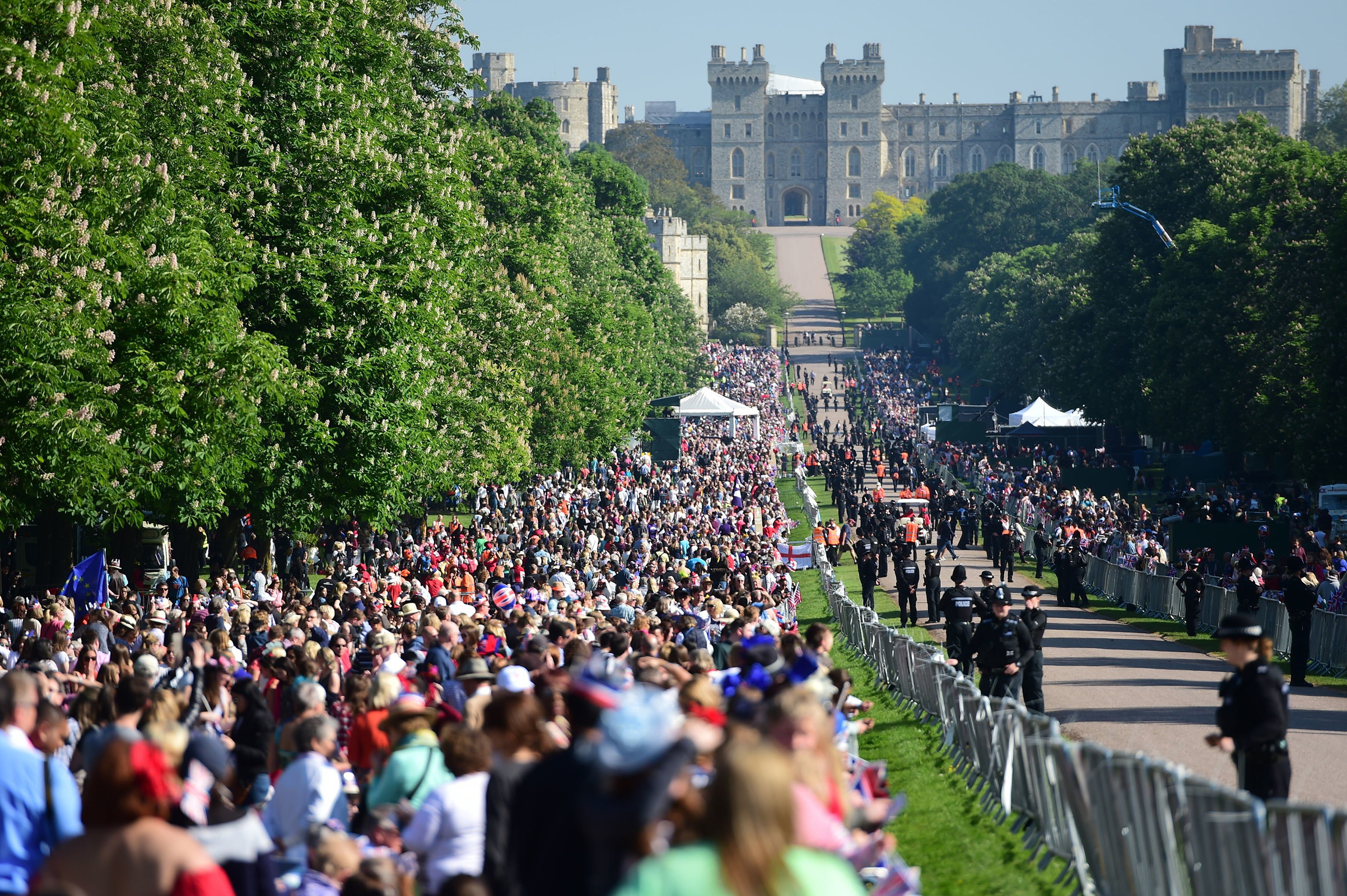 Royal wedding fans line the Long Walk in Windsor ahead of the wedding of Prince Harry and Meghan Markle, May 19, 2018.