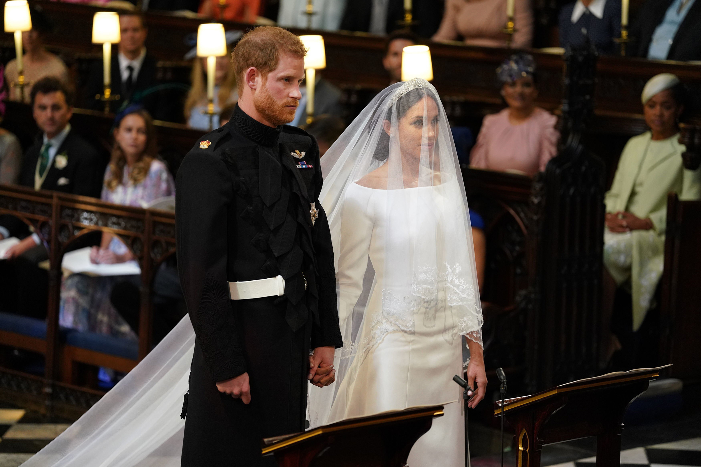 Prince Harry and Meghan Markle in St George's Chapel at Windsor Castle for their wedding, May 19, 2018.