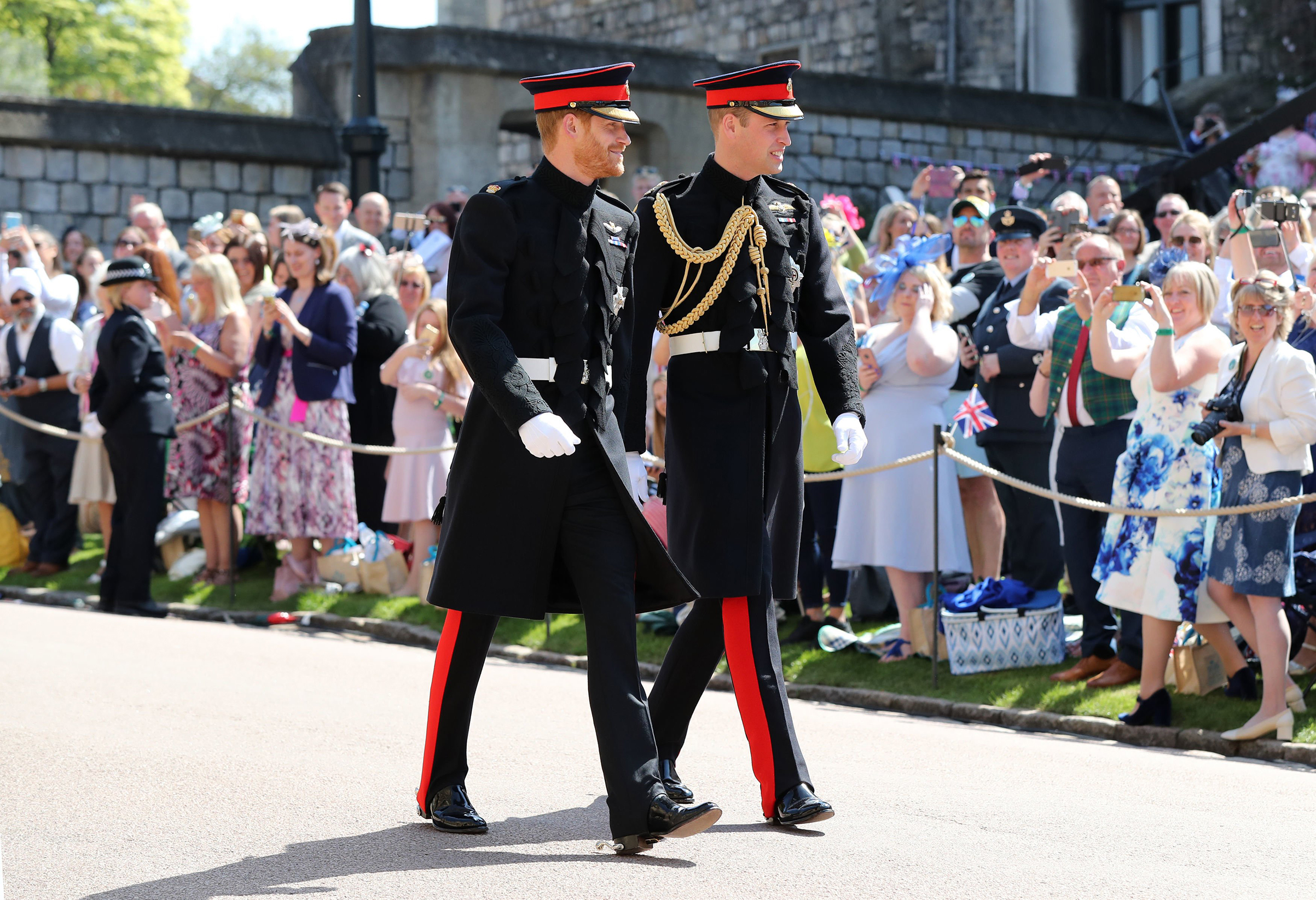 Prince Harry, Duke of Sussex, (left) arrives with his best man Prince William, Duke of Cambridge, at St George's Chapel, Windsor Castle, in Windsor, on May 19, 2018.