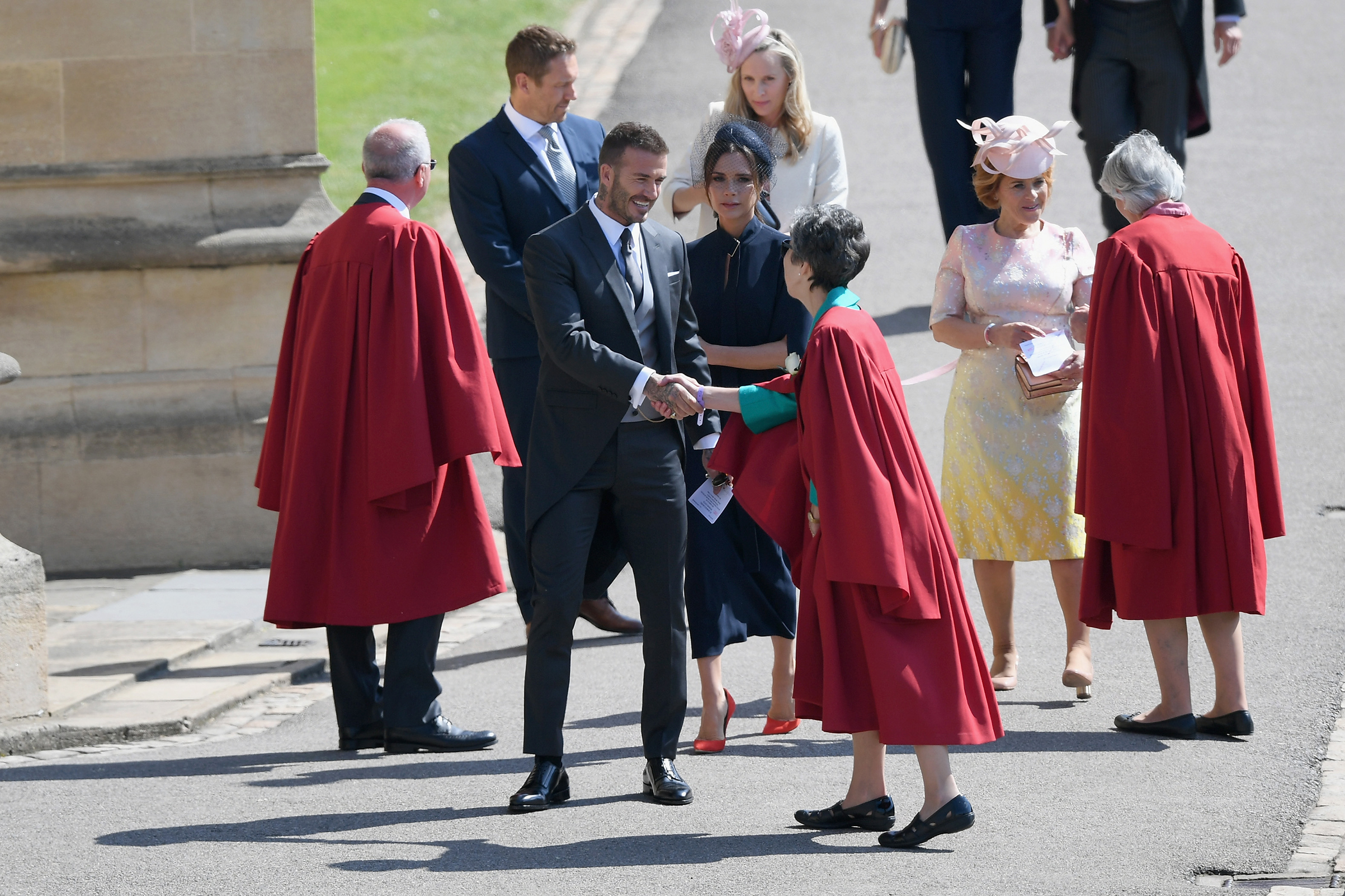 David and Victoria Beckham attend the wedding of Prince Harry and Meghan Markle at St George's Chapel, Windsor Castle on May 19, 2018.