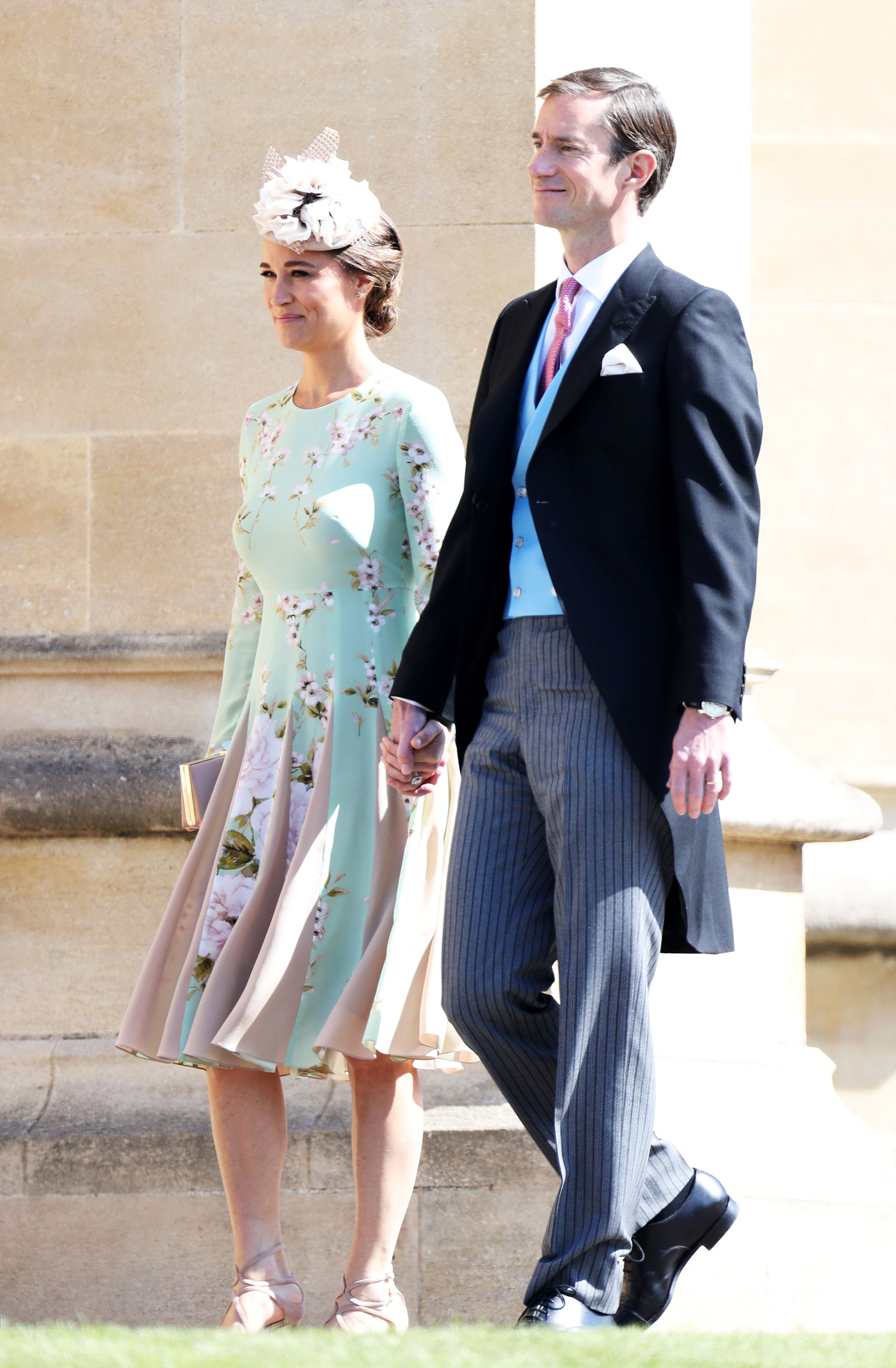 Pippa Middleton and James Matthews arrive at the wedding of Prince Harry and Meghan Markle at St George's Chapel, Windsor Castle on May 19, 2018.