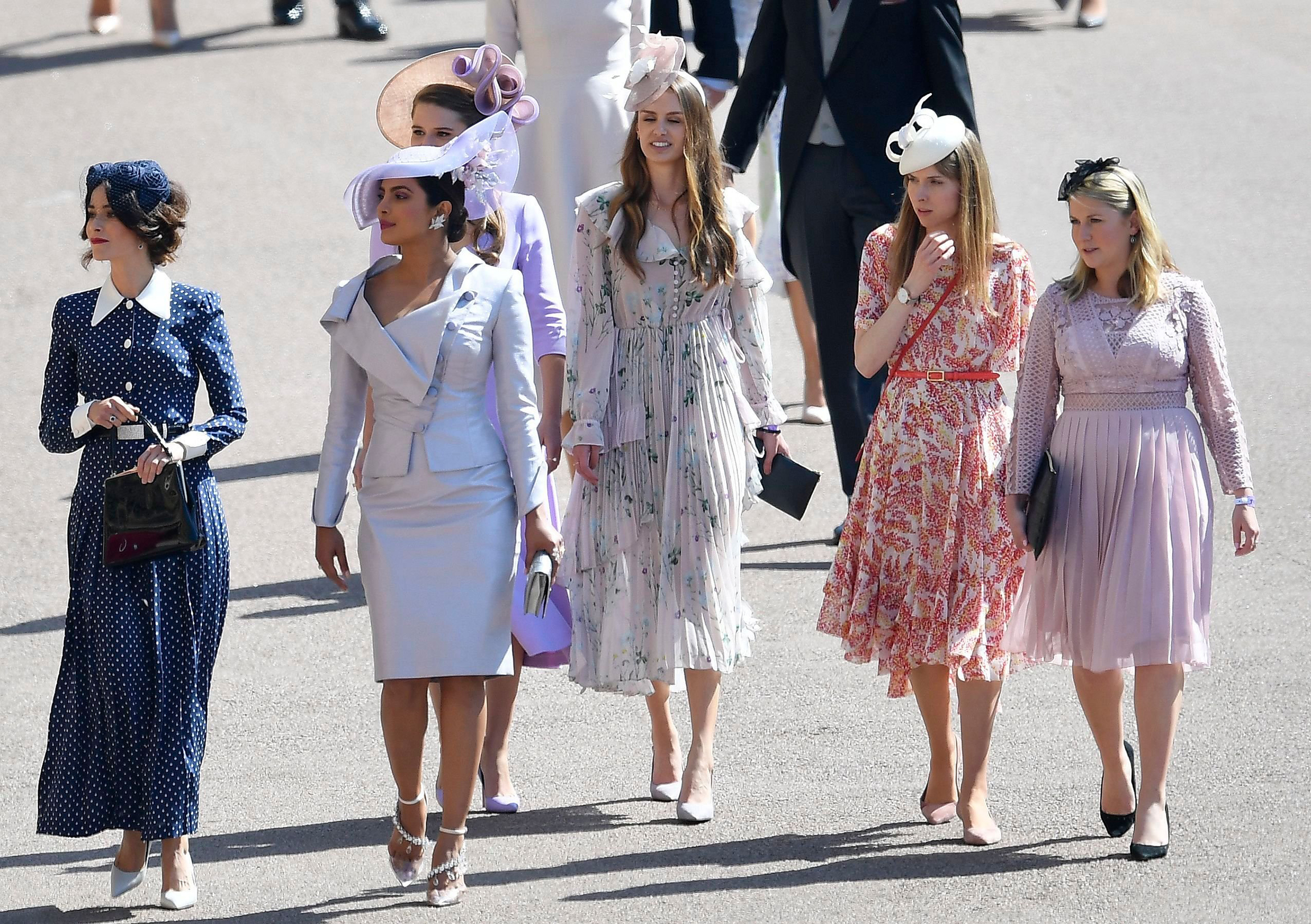 Priyanka Chopra (second from left) arrives for the royal wedding ceremony of Britain's Prince Harry and Meghan Markle at St George's Chapel in Windsor Castle, May 19, 2018.