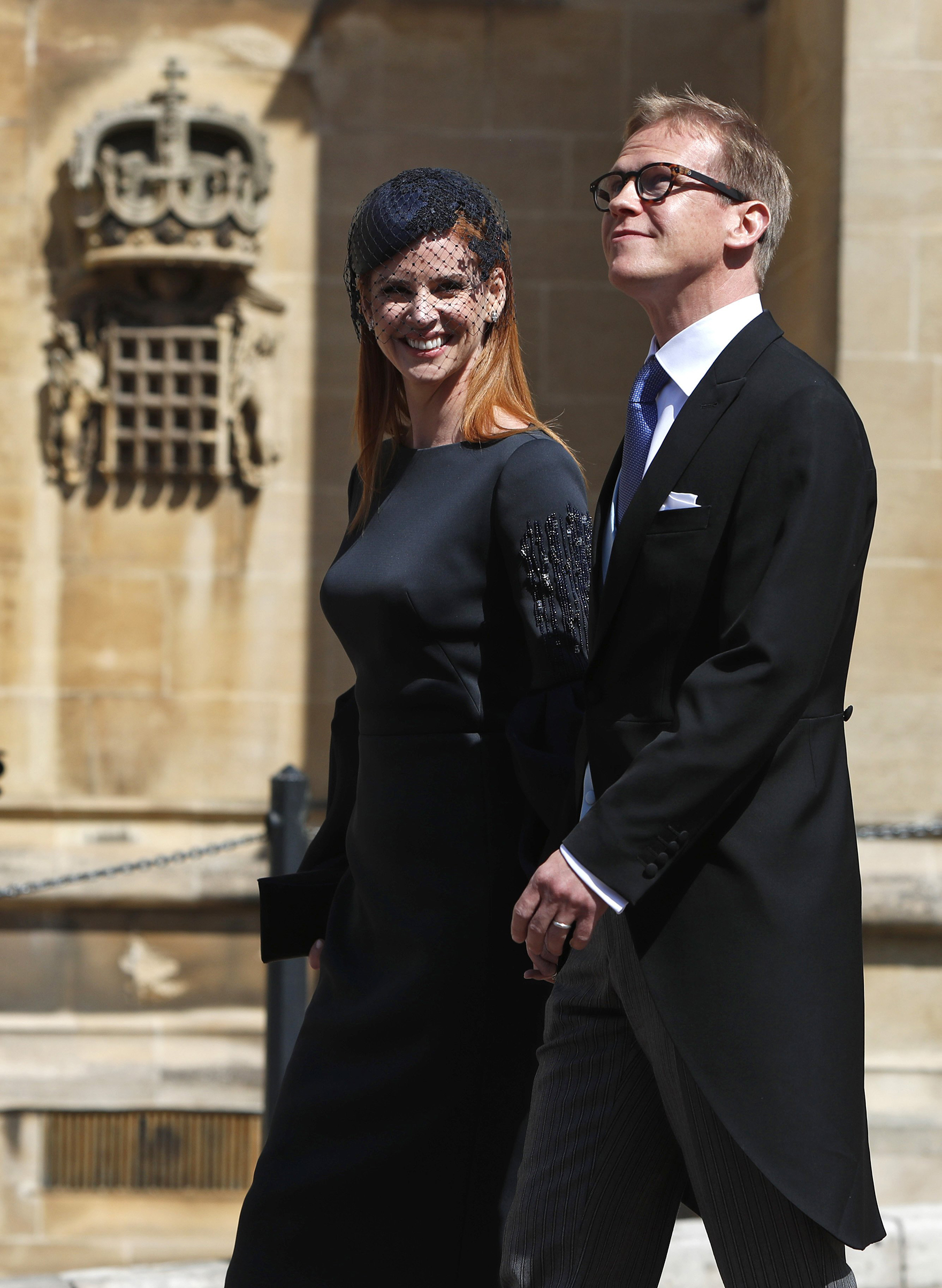 Sarah Rafferty and Santtu Seppala arrive for the wedding of Britain's Prince Harry, Duke of Sussex and Meghan Markle at St George's Chapel, Windsor Castle, in Windsor, on May 19, 2018.