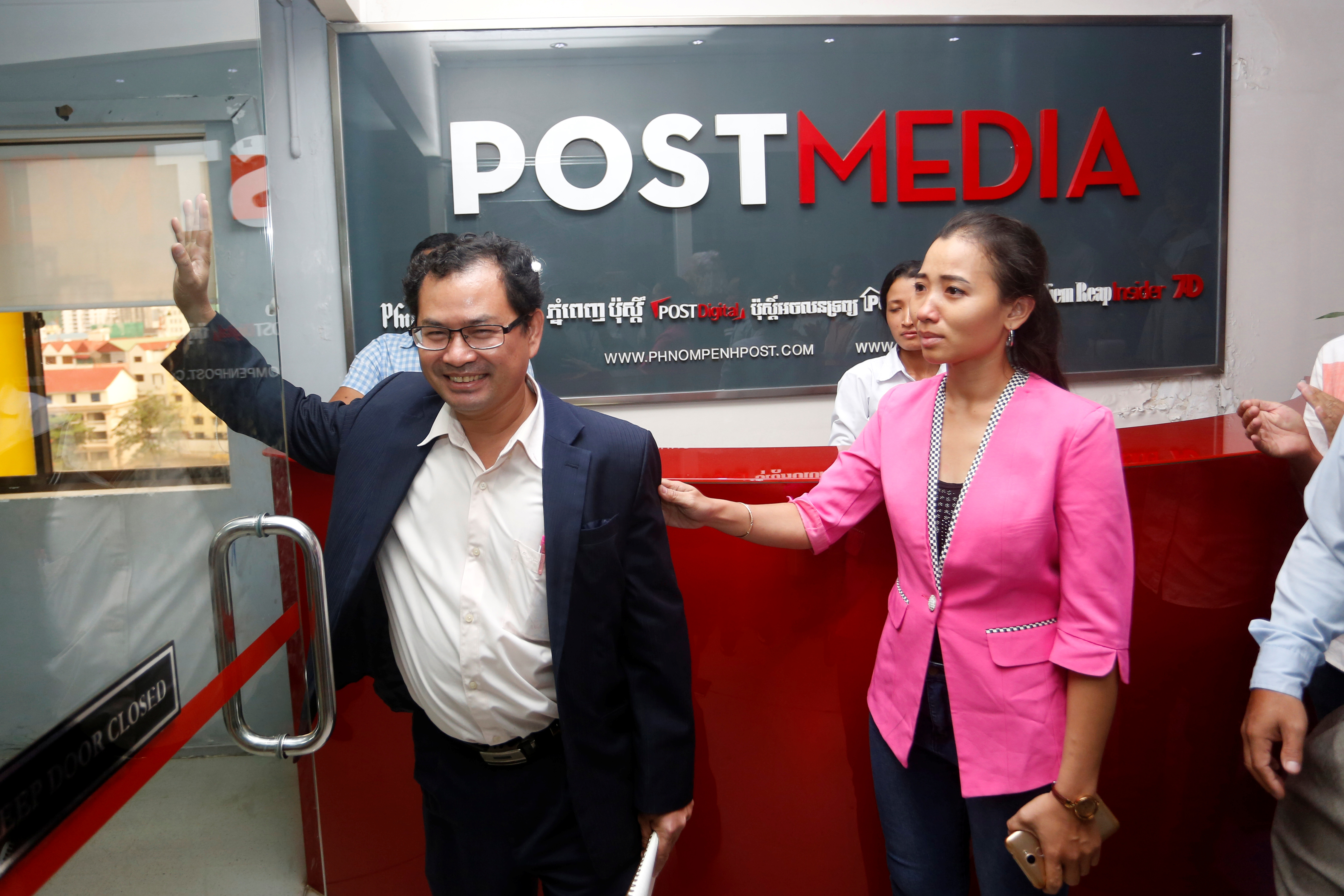 Phnom Penh Post Editor-in-Chief Kay Kimsong (left) and chief of staff Chhay Channyda, after Kimsong was fired on May 7, 2018.